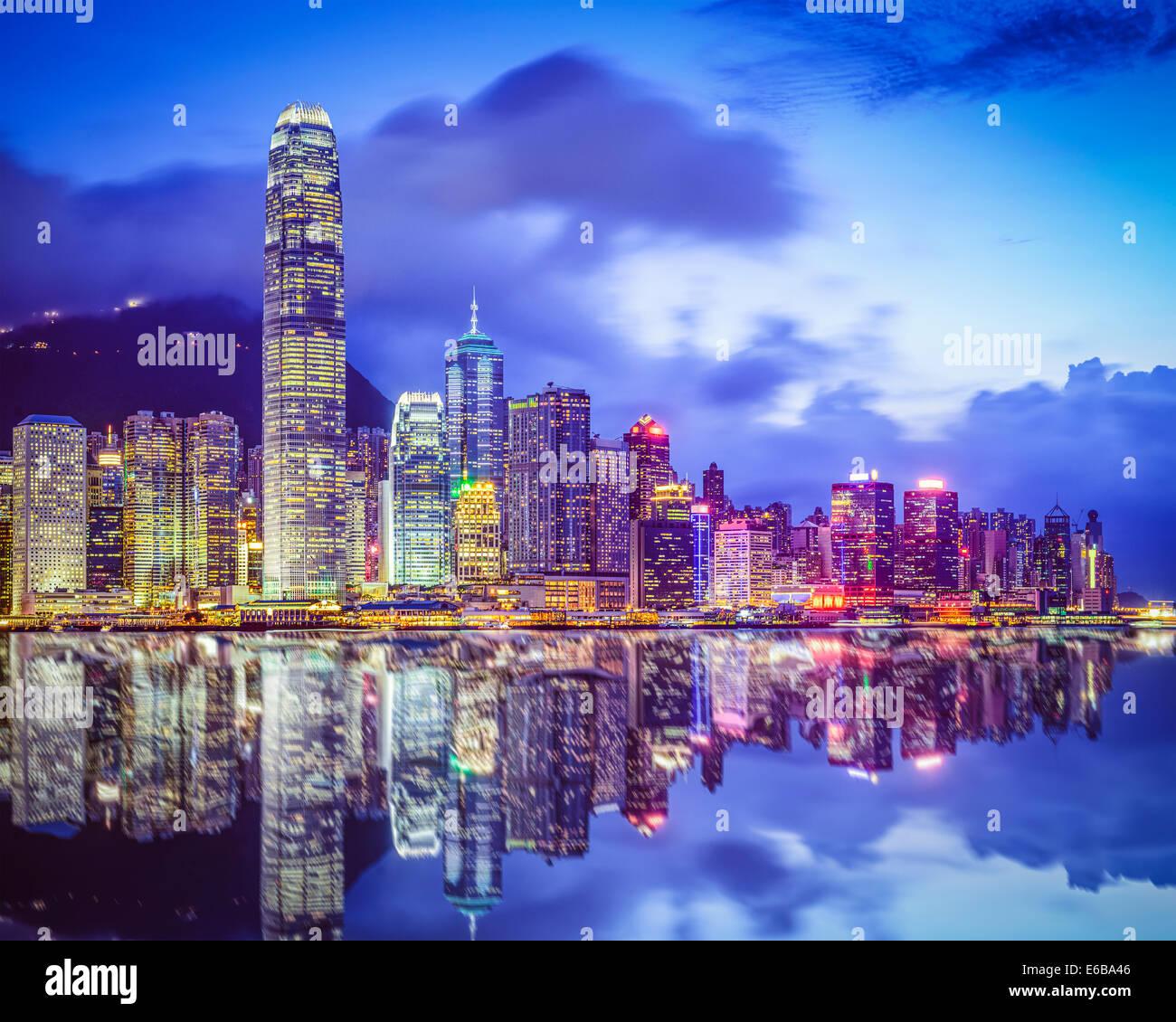 Hong Kong Cina skyline della città dal porto di Victoria. Immagini Stock