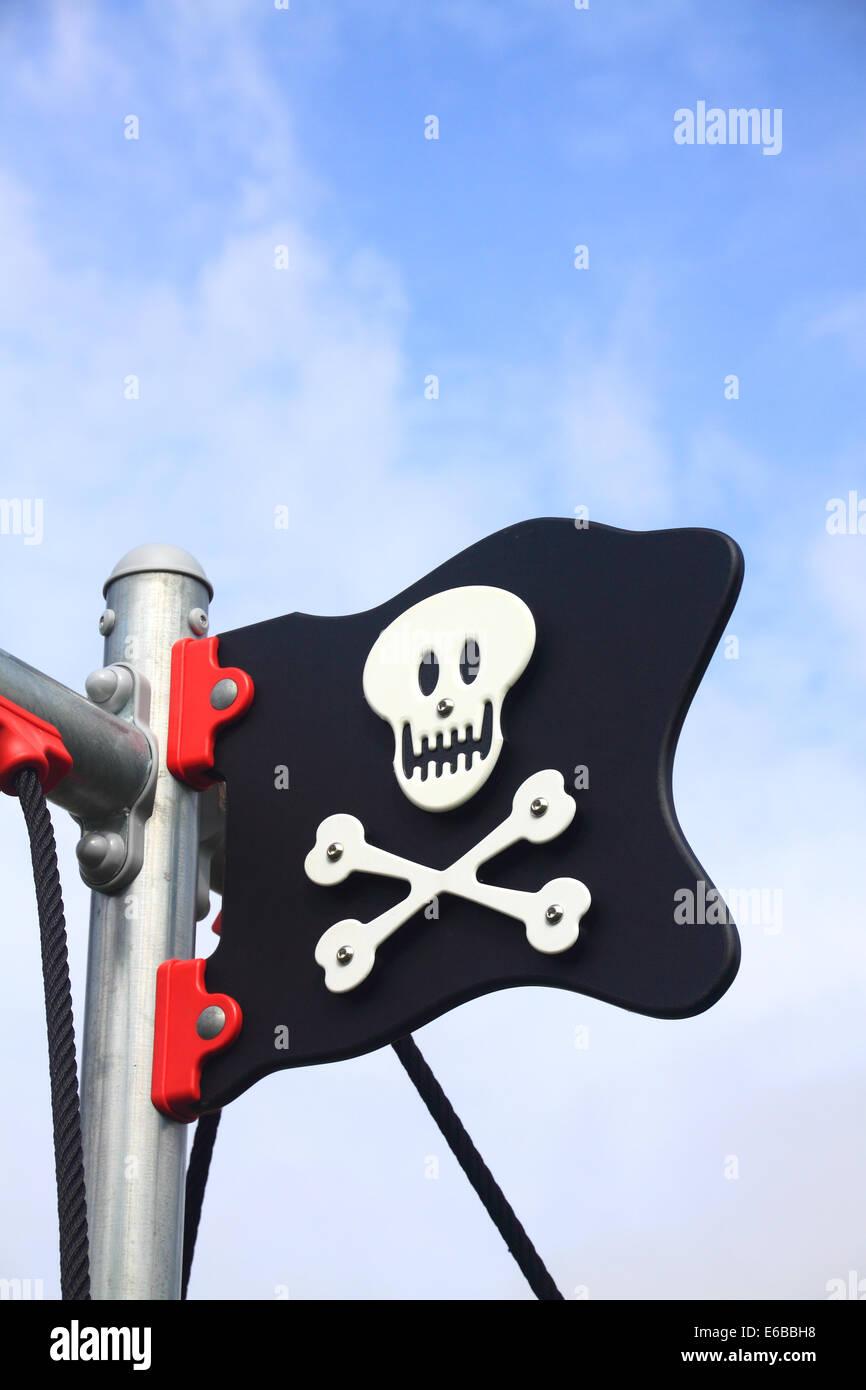 Fumetto Jolly Roger bandiera Immagini Stock
