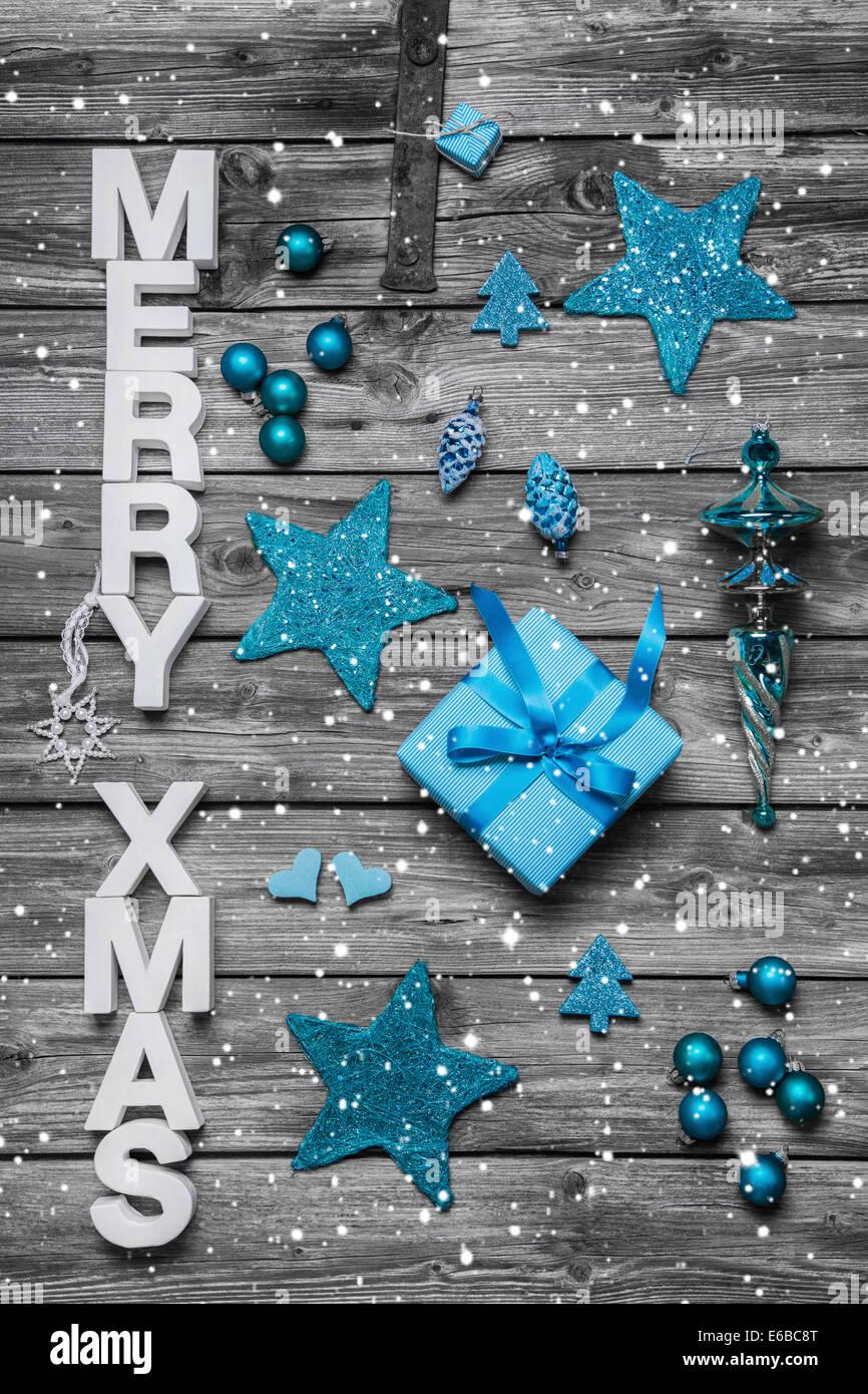 Buon Natale Shabby Chic.Shabby Chic Natale Biglietto Di Auguri Con Il Testo Merry Christmas Decorate In Bianco E Blu E Grigio Foto Stock Alamy