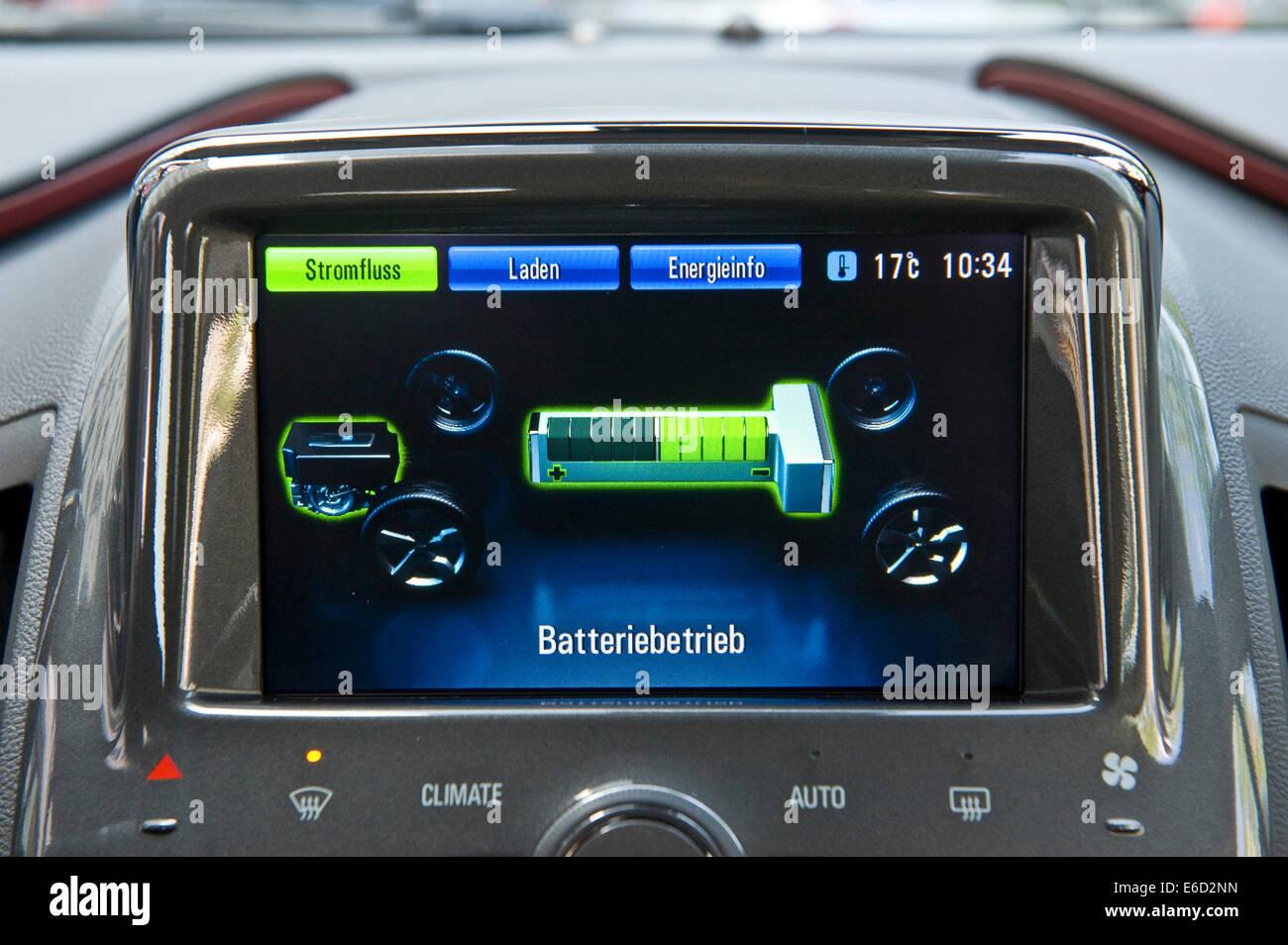 Modalità batteria display, auto elettriche, Opel Ampera, Germania Immagini Stock