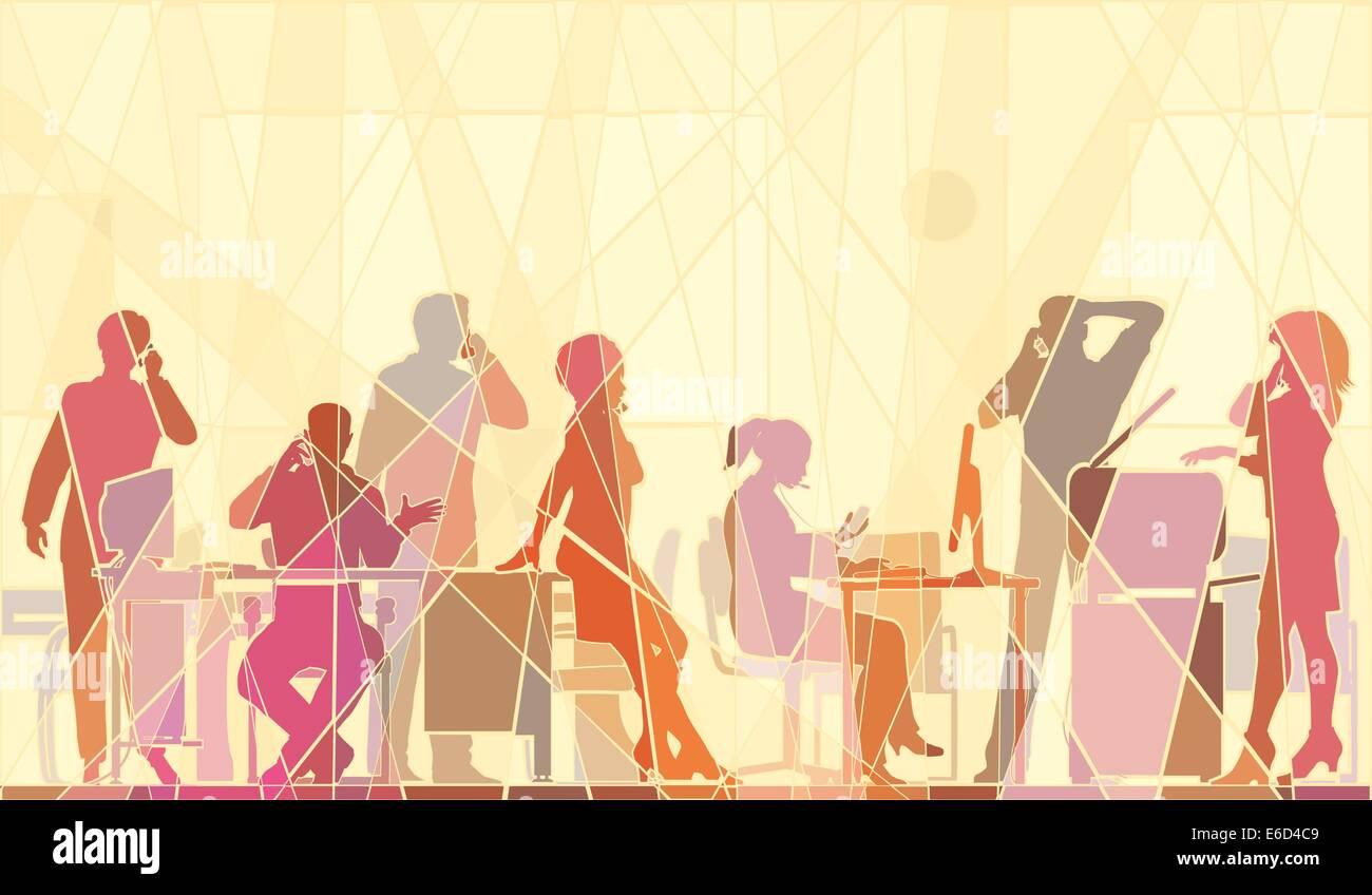 Vettoriale modificabile mosaico colorato illustrazione della gente di affari in un ufficio tutti parlando su telefoni Immagini Stock