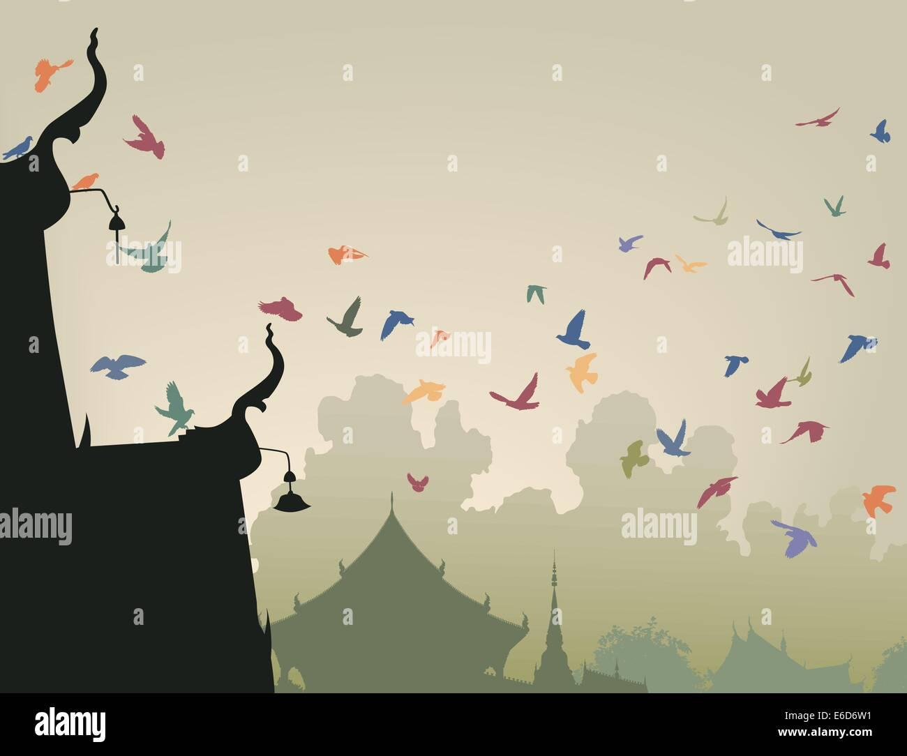 Illustrazione Vettoriale di coloratissimi piccioni in volo per un tempio buddista tetto Illustrazione Vettoriale