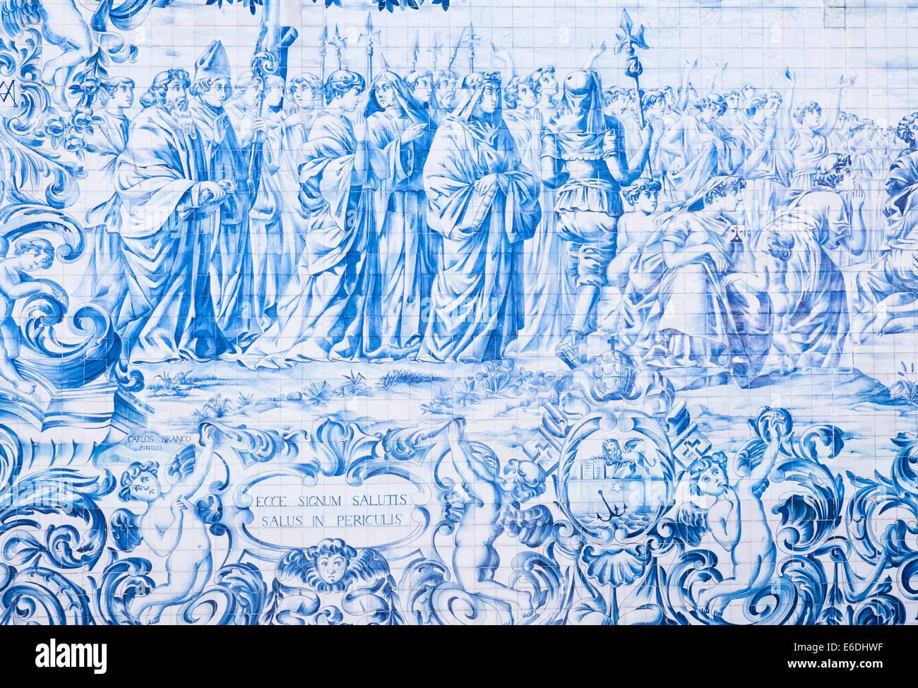 Piastrelle blu azulejos dipinto raffigurante una scena religiosa
