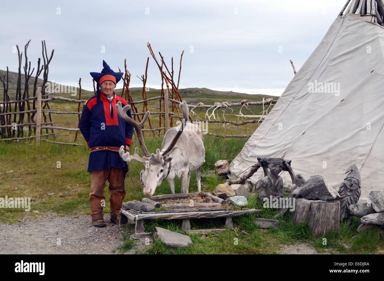 Honnigsvag, il popolo dei Sami, vivere come nomadi con i loro cervi tutto l'anno. Il popolo dei Sami vive con Immagini Stock