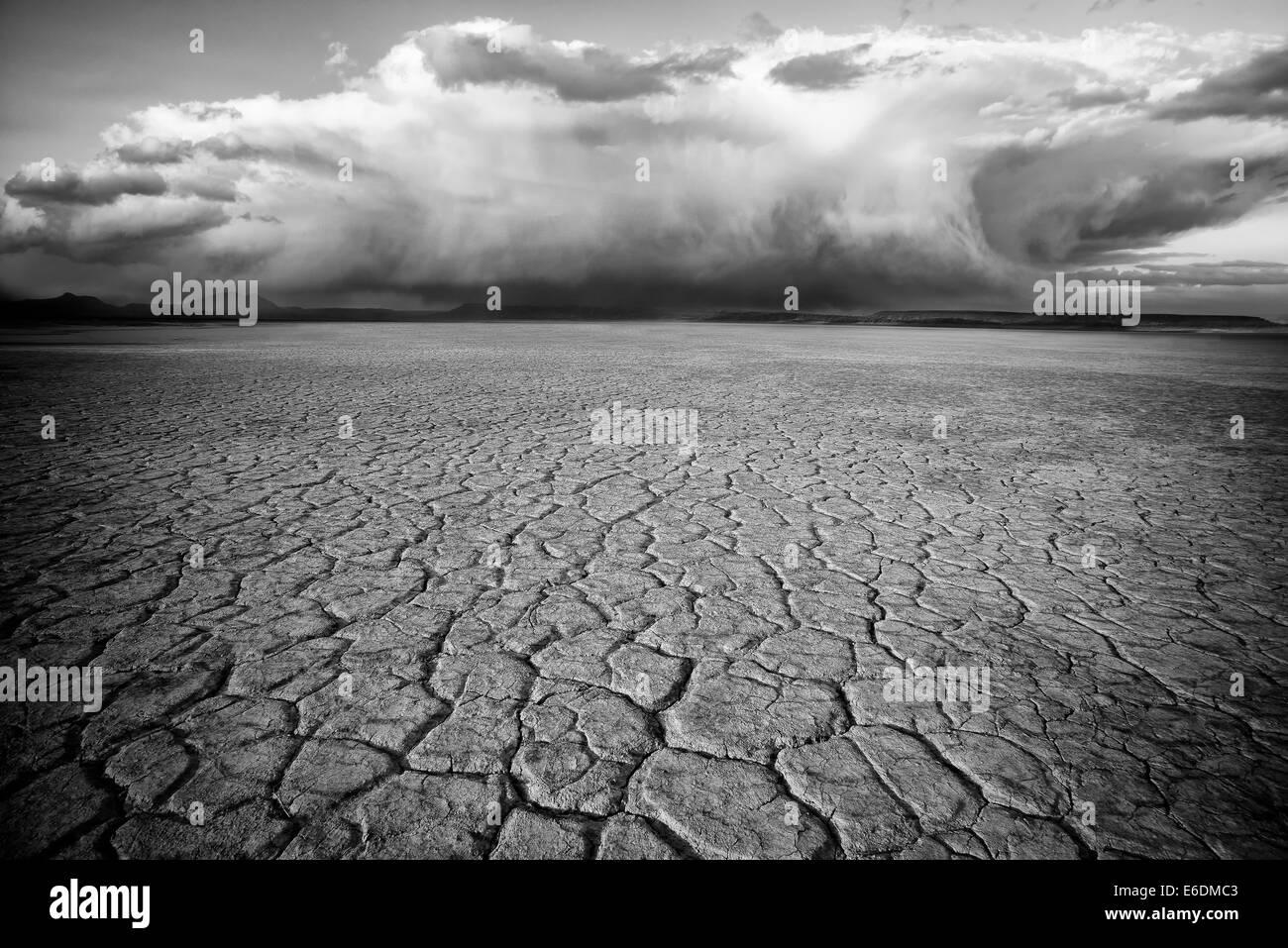 Deserto Alvord e nuvole Harney County, Oregon. Immagini Stock