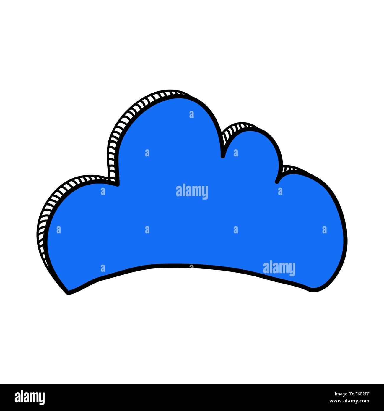Blue doodle cloud Immagini Stock