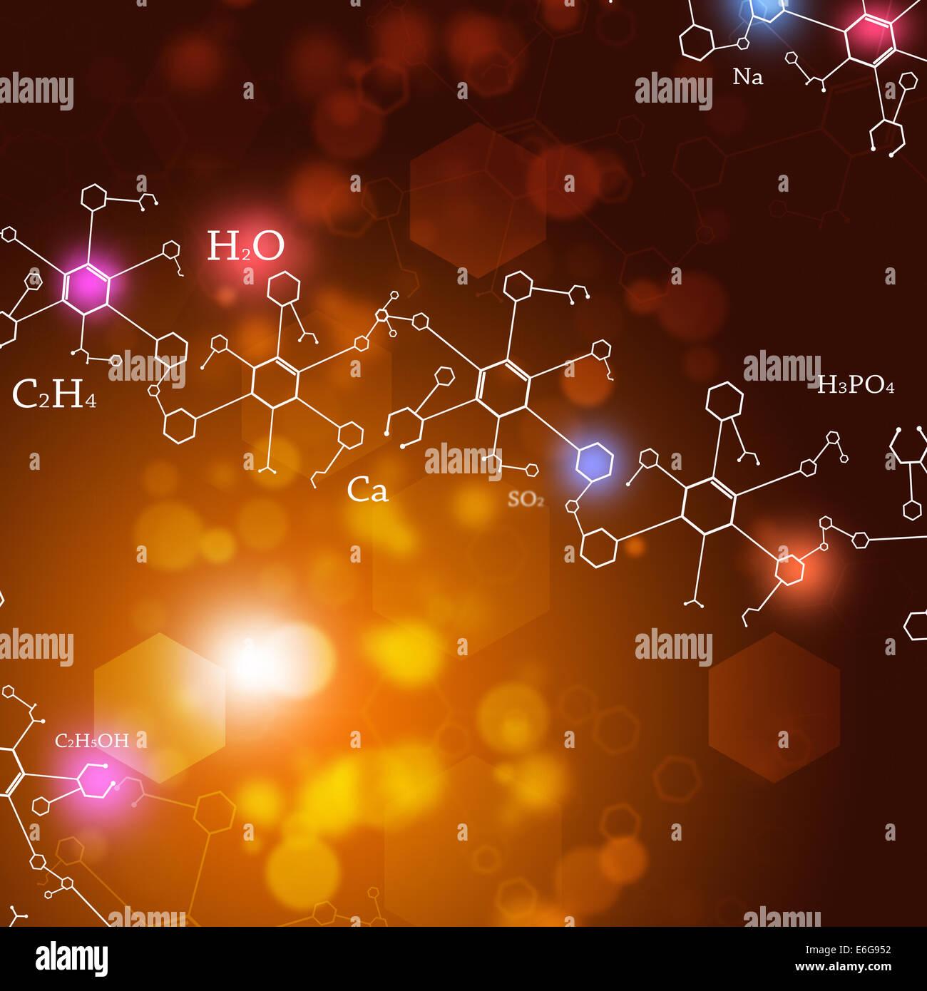 Abstract della tecnologia e della scienza lo sfondo con elementi di chimica Immagini Stock