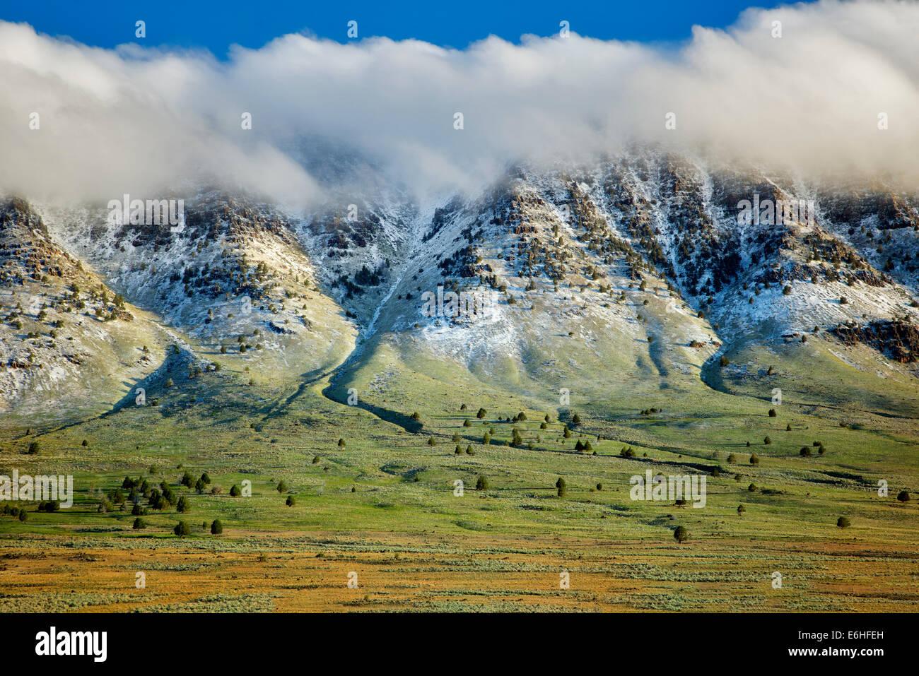 Steens Mountain e la caduta di neve fresca. Oregon Immagini Stock