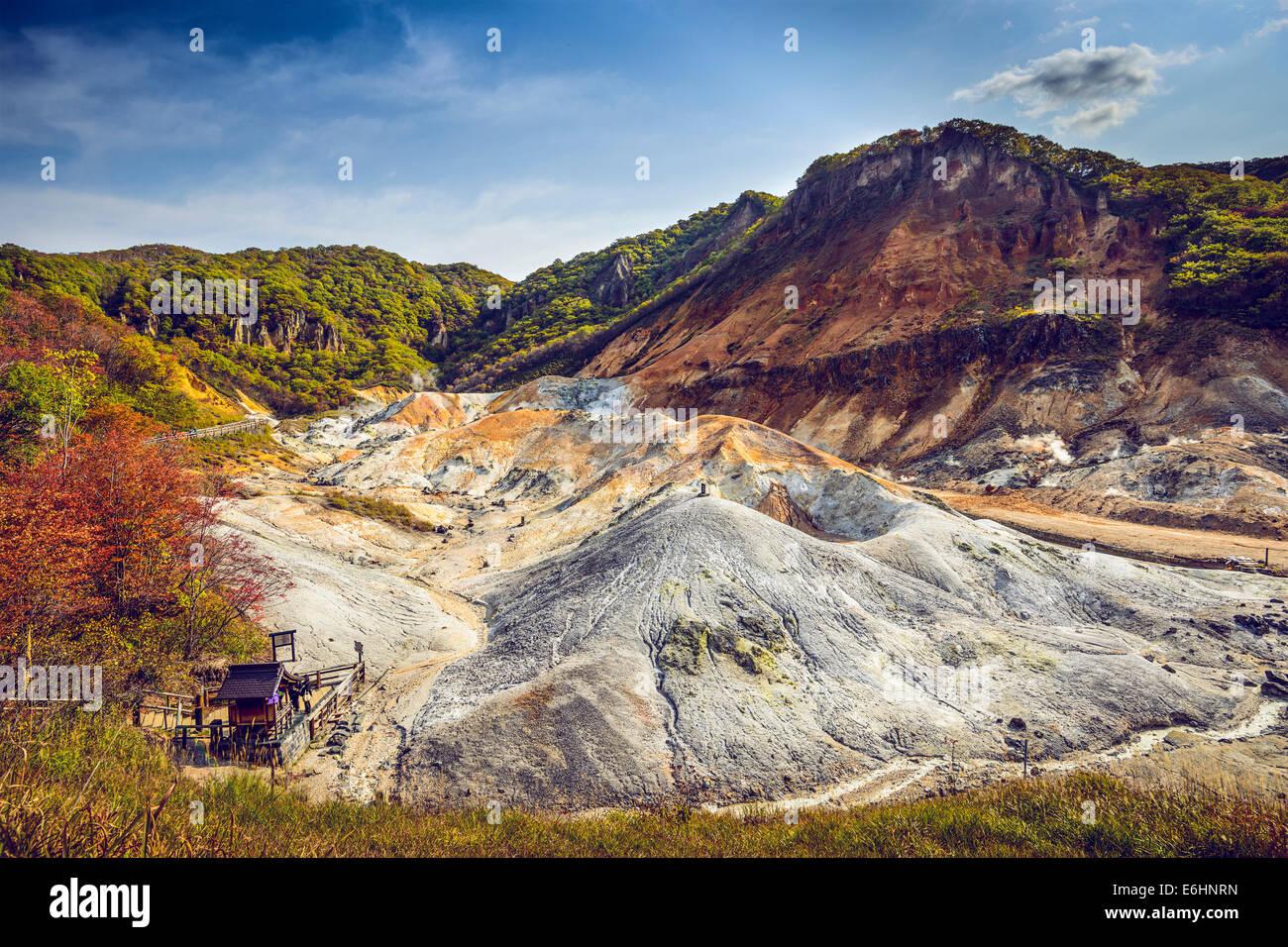 Noboribetsu, Hokkaido, Giappone Jigokudani a valle dell'Inferno. Immagini Stock
