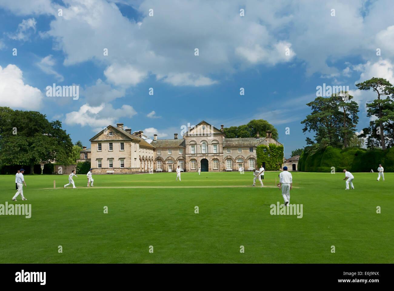 Hovingham House partita di cricket North Yorkshire, Inghilterra Immagini Stock