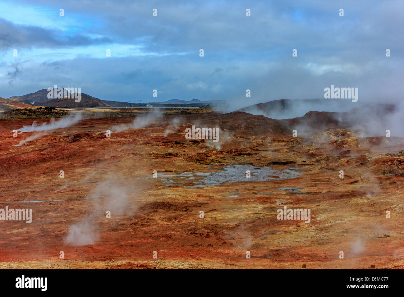 Gunnuhver area geotermica Immagini Stock