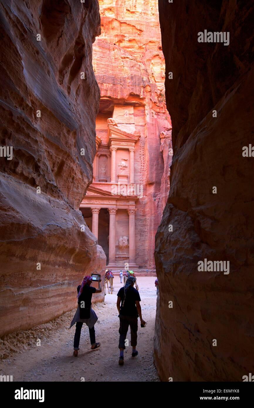 Siq, Petra, Giordania, Medio Oriente Immagini Stock