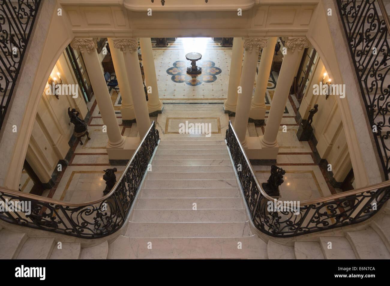Dettaglio della rampa di scale, Museo di Arti Decorative, Havana, Cuba Immagini Stock