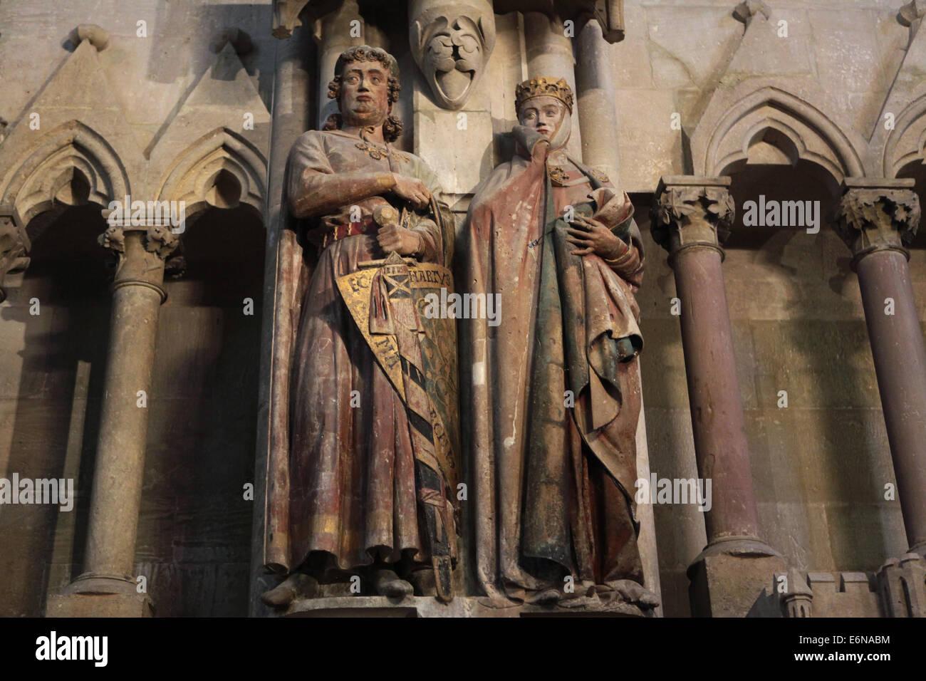 Statue gotiche del Margravio Eckard II e sua moglie Uta di Naumburg Cattedrale di Naumburg, Sassonia Anhalt, Germania. Immagini Stock