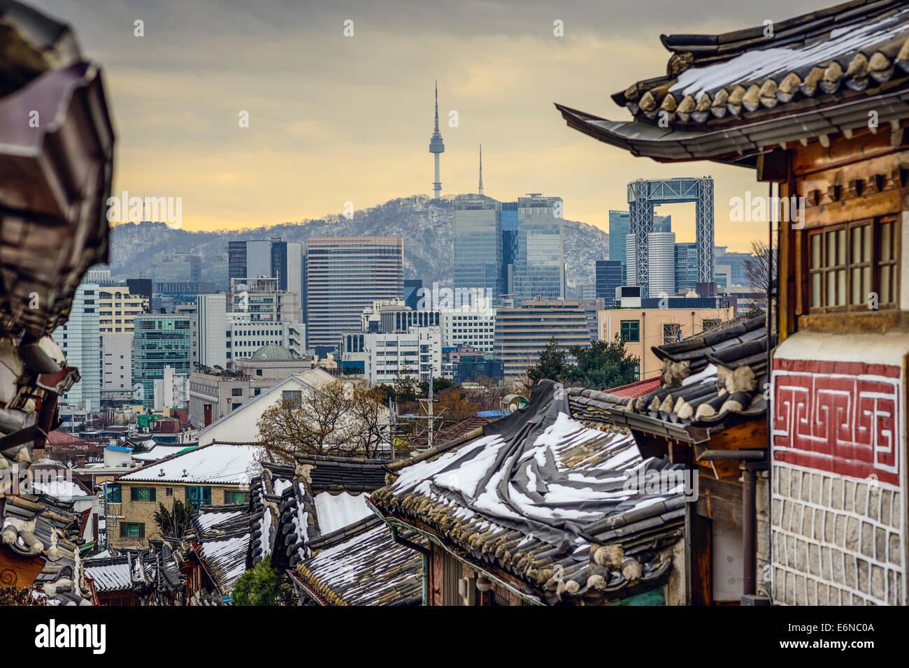 Seoul, Corea del Sud a Bukchon Hanok quartiere storico. Immagini Stock