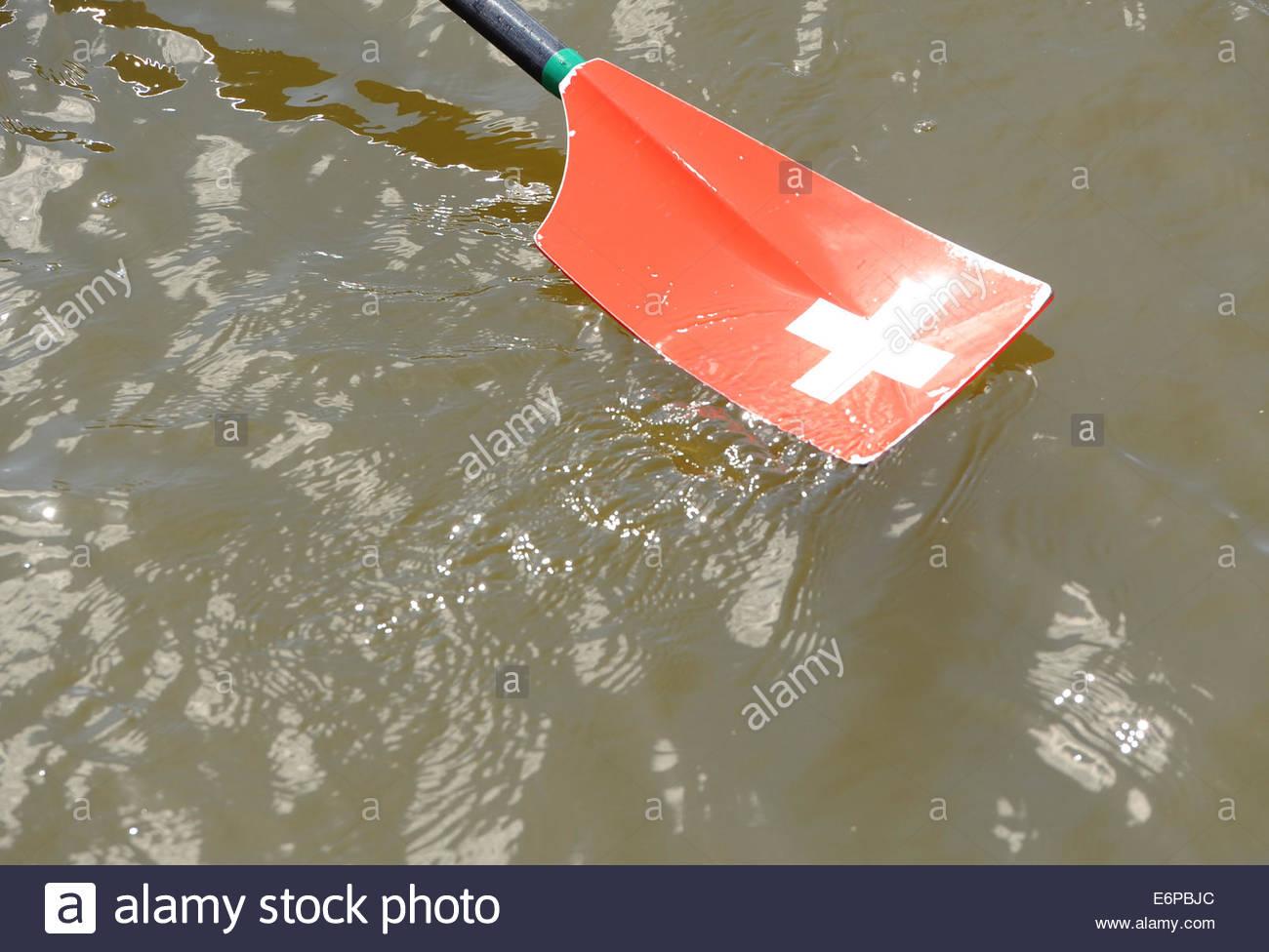 Amsterdam nl 27 Agosto 2014 Mondo campionati di canottaggio. Canottaggio svizzero remo. Immagini Stock