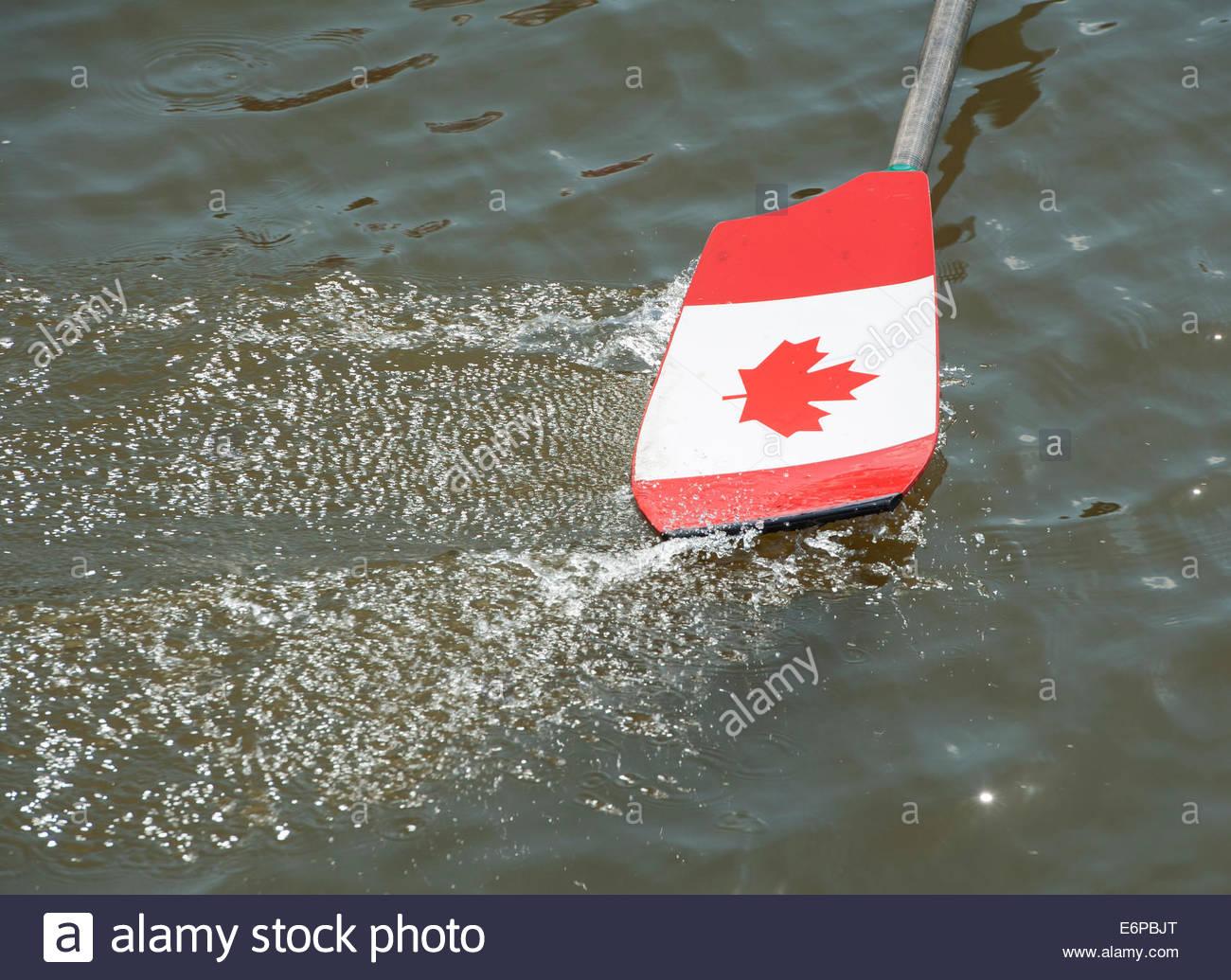 Amsterdam nl 27 Agosto 2014 Mondo campionati di canottaggio. Canottaggio canadese remo. Immagini Stock
