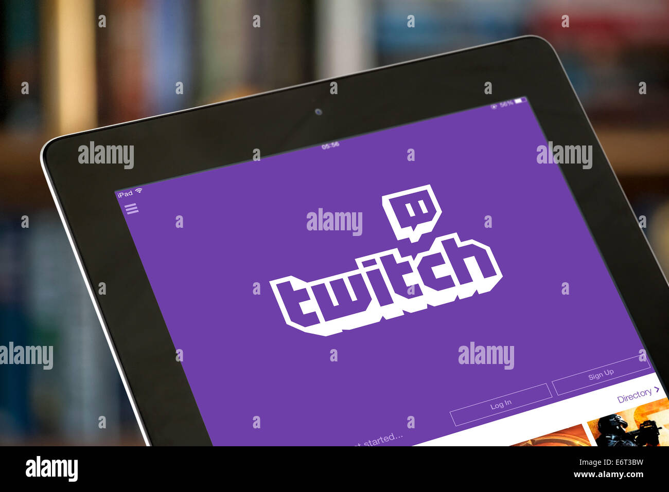 Il video streaming gaming app Twitch, visto su un ipad di Apple Immagini Stock