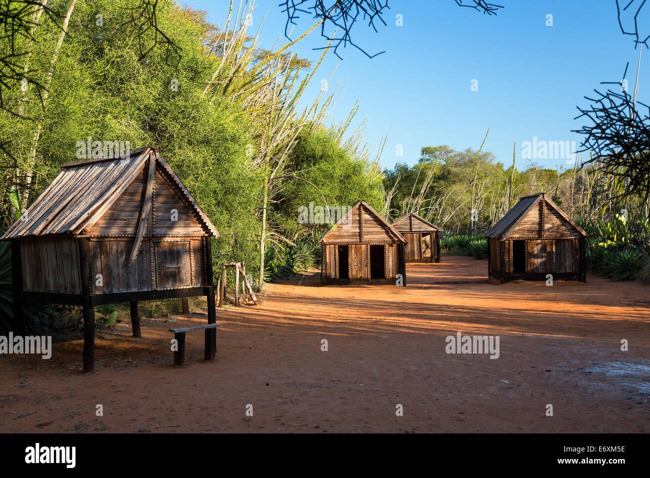 Paese-museo della tribù Antandroy, riserva Berenty, Sud del Madagascar, Africa Immagini Stock