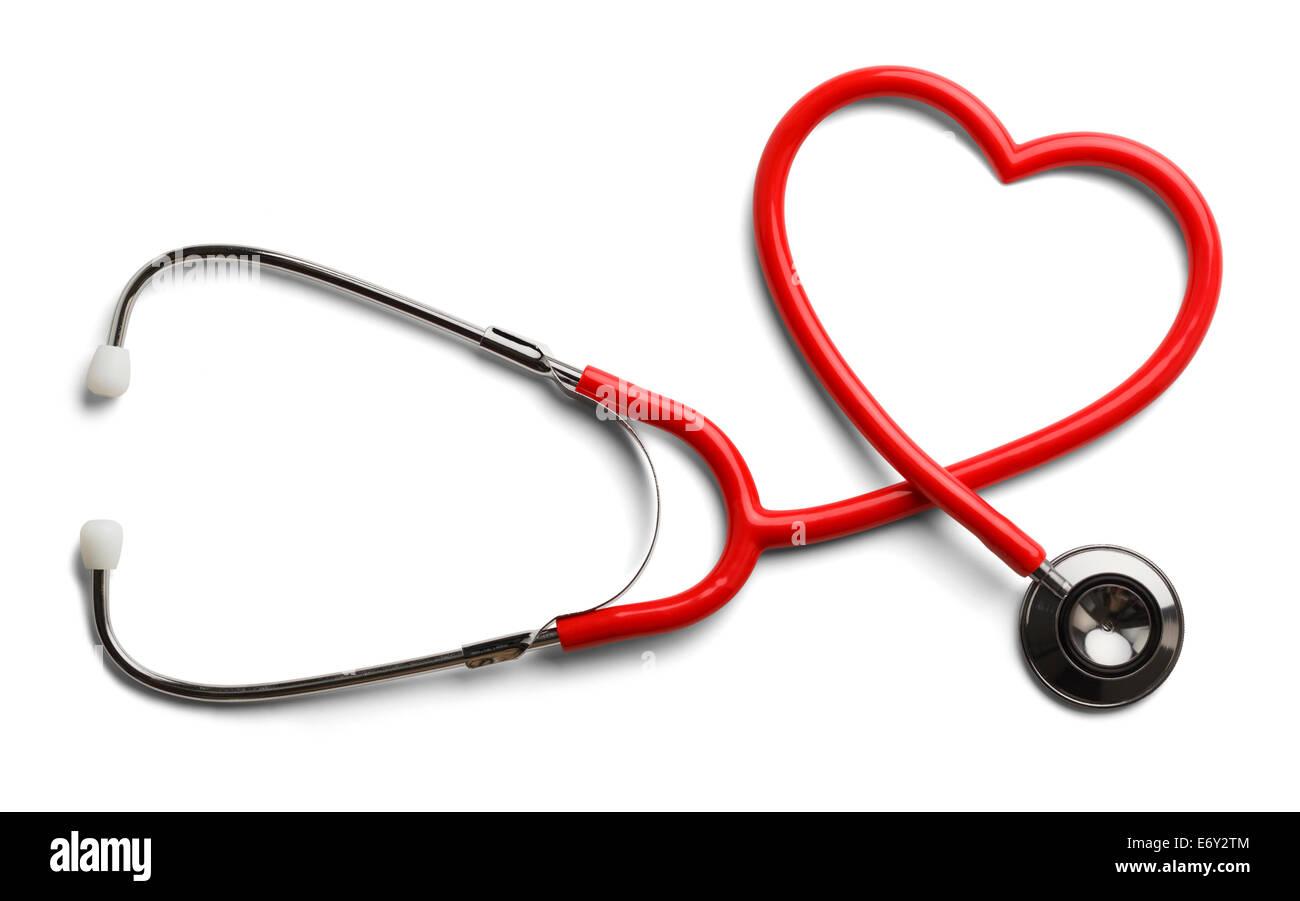 Stetoscopio rosso a forma di cuore isolato su sfondo bianco. Immagini Stock