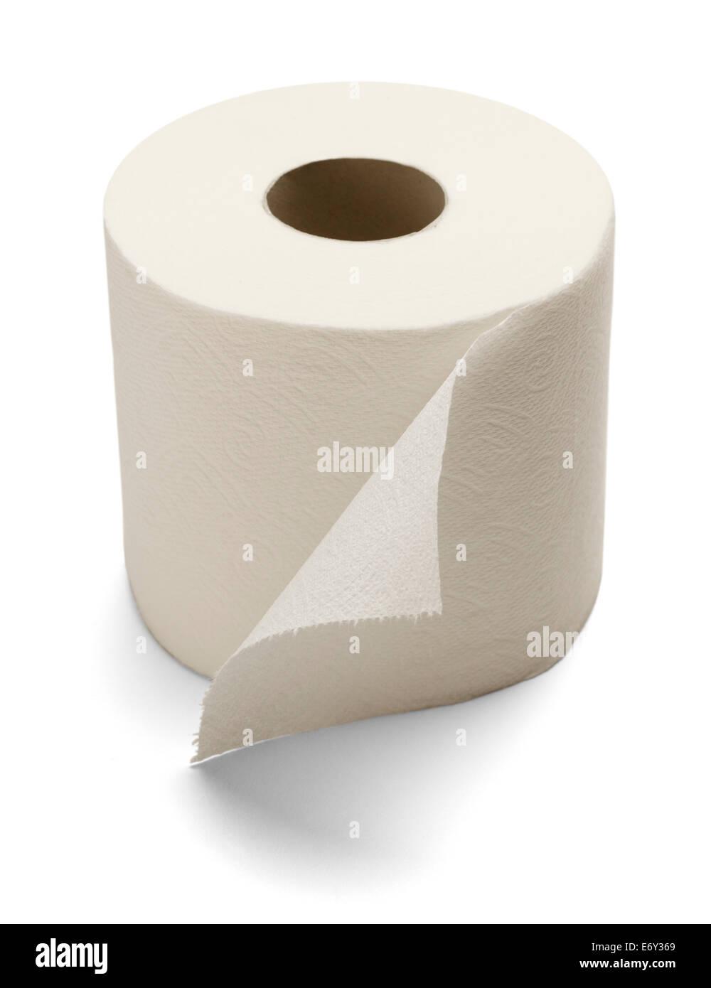 Carta igienica morbida isolato su uno sfondo bianco. Immagini Stock