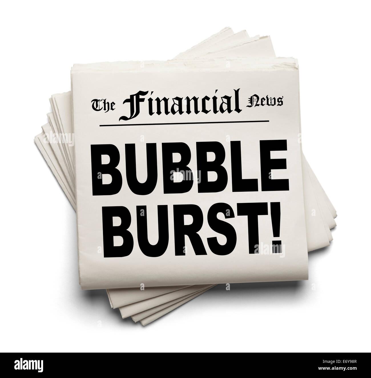 Financial Carta nuova con la bolla scoppiò Headline isolati su sfondo bianco. Immagini Stock