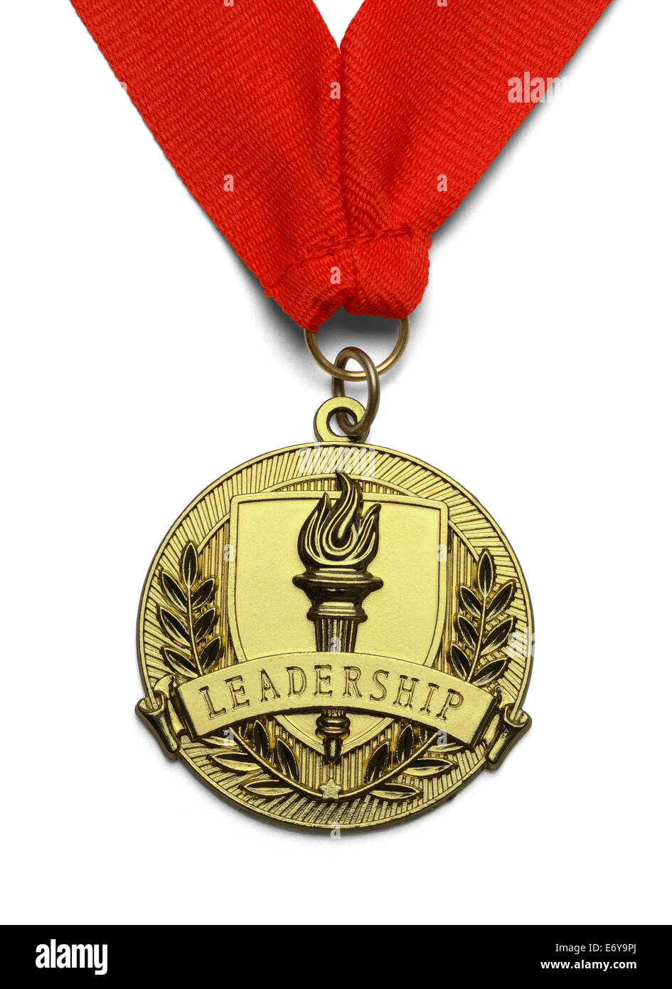 Medaglia d'oro con torcia e Leadership isolati su sfondo bianco. Immagini Stock