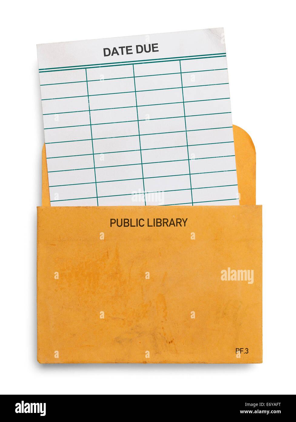 Blank biblioteca pubblica Prenota Check Out carta a causa dello slittamento di data in busta gialla isolato su sfondo Immagini Stock