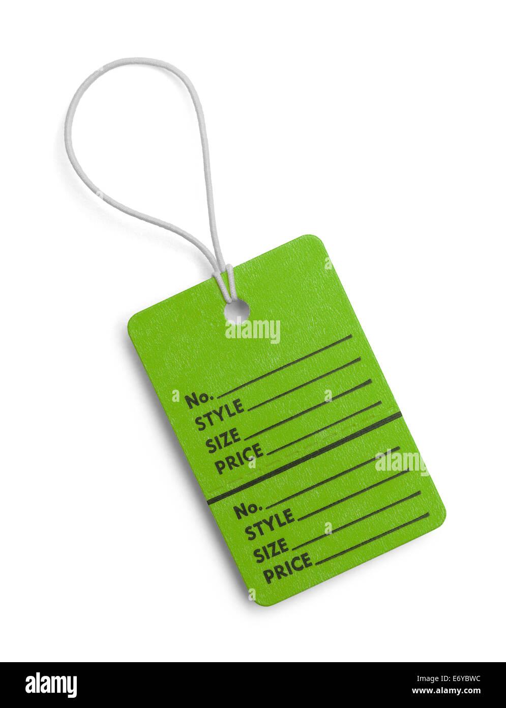 Verde Tag Retail con copia spazio isolato su sfondo bianco. Immagini Stock