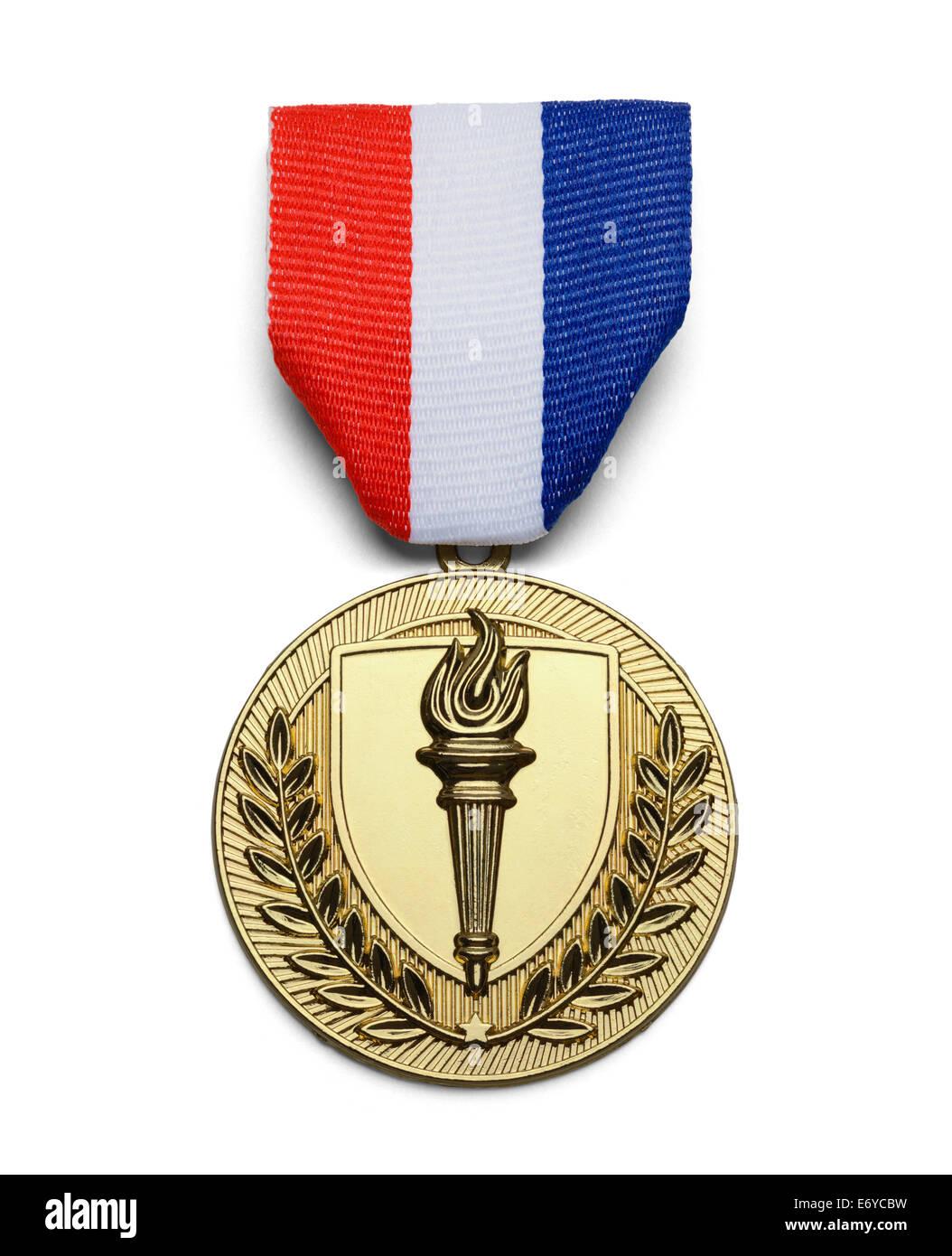 Oro USA medaglia torcia isolati su sfondo bianco. Immagini Stock