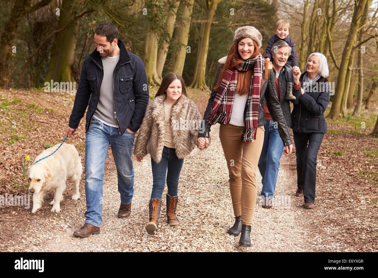 Giovane prendendo cane per camminare sulla via della città Immagini Stock