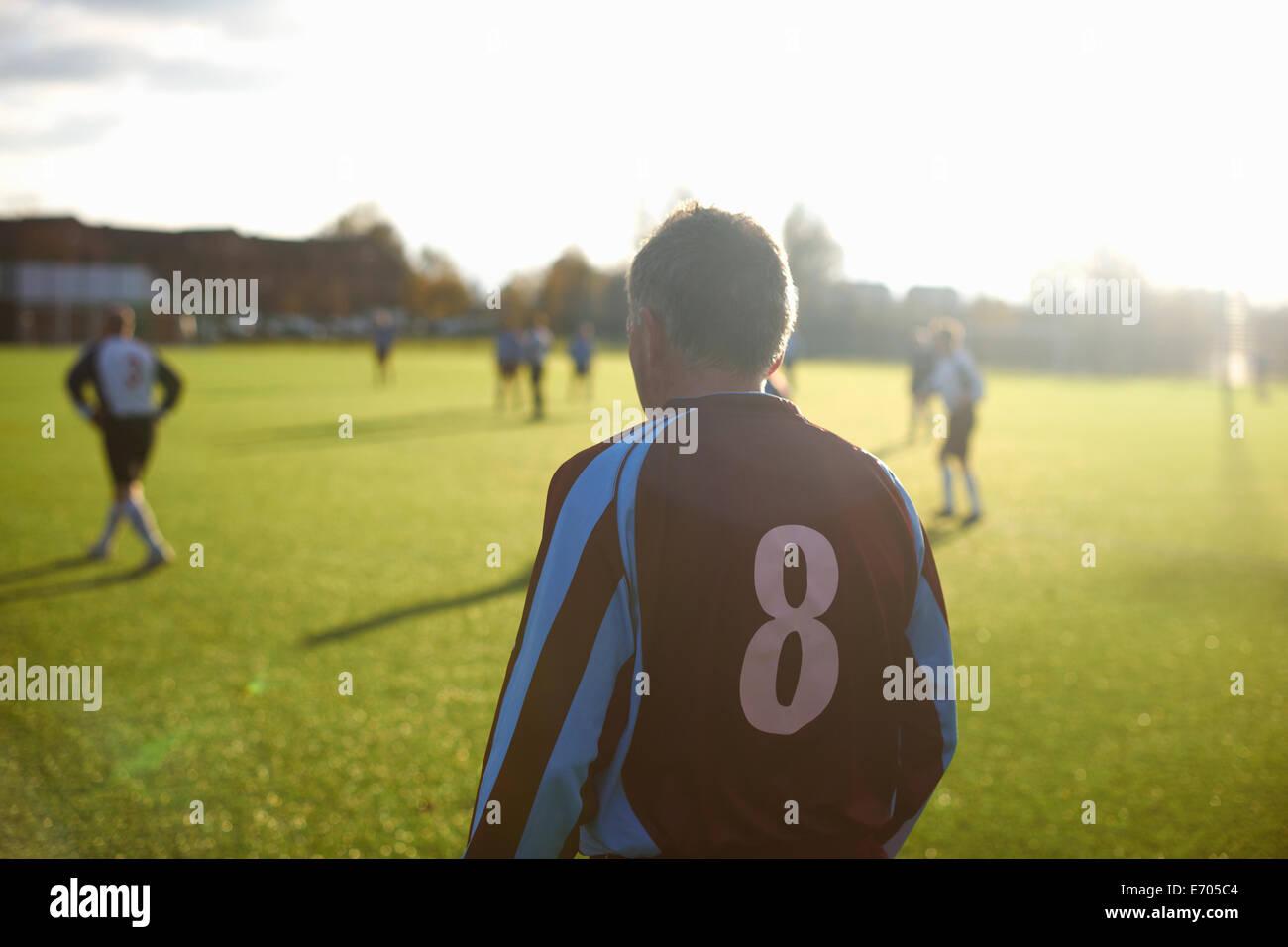 Specchietto del calcio il giocatore numero 8 Immagini Stock