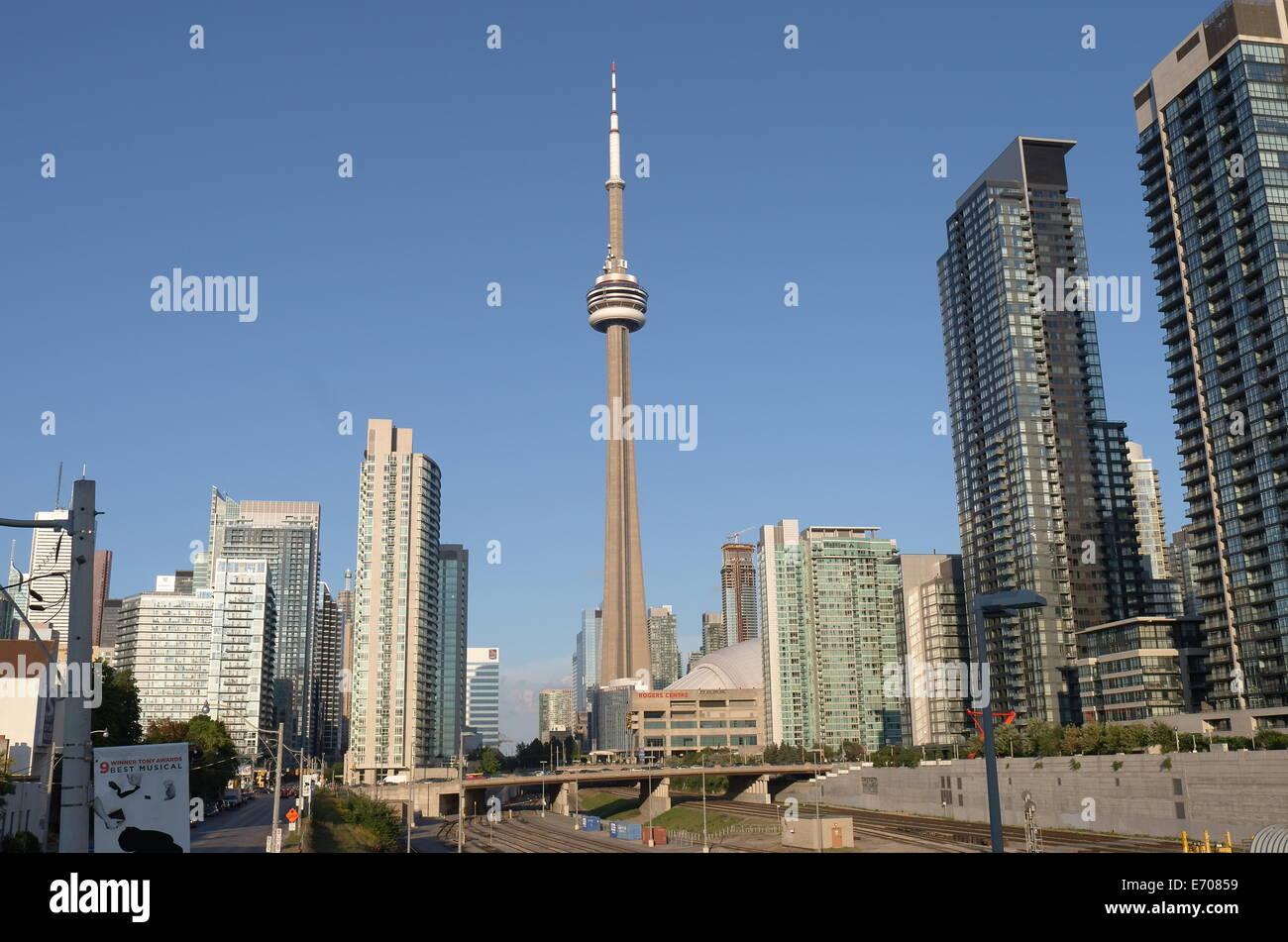 Vista del centro cittadino di Toronto e CN Tower Immagini Stock