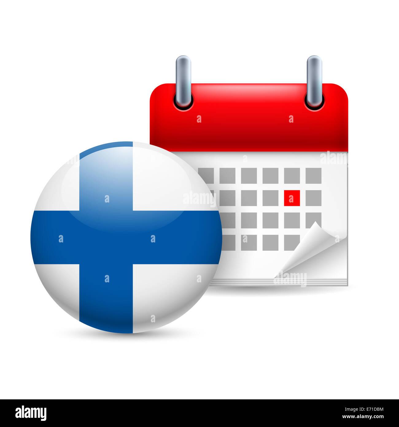 Calendario Nazionali.Calendario E Round Finlandese Icona Bandiera Feste