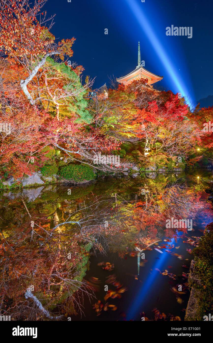 Kyoto, Giappone a Kiyomizu-dera tempio in autunno sesaon. Immagini Stock