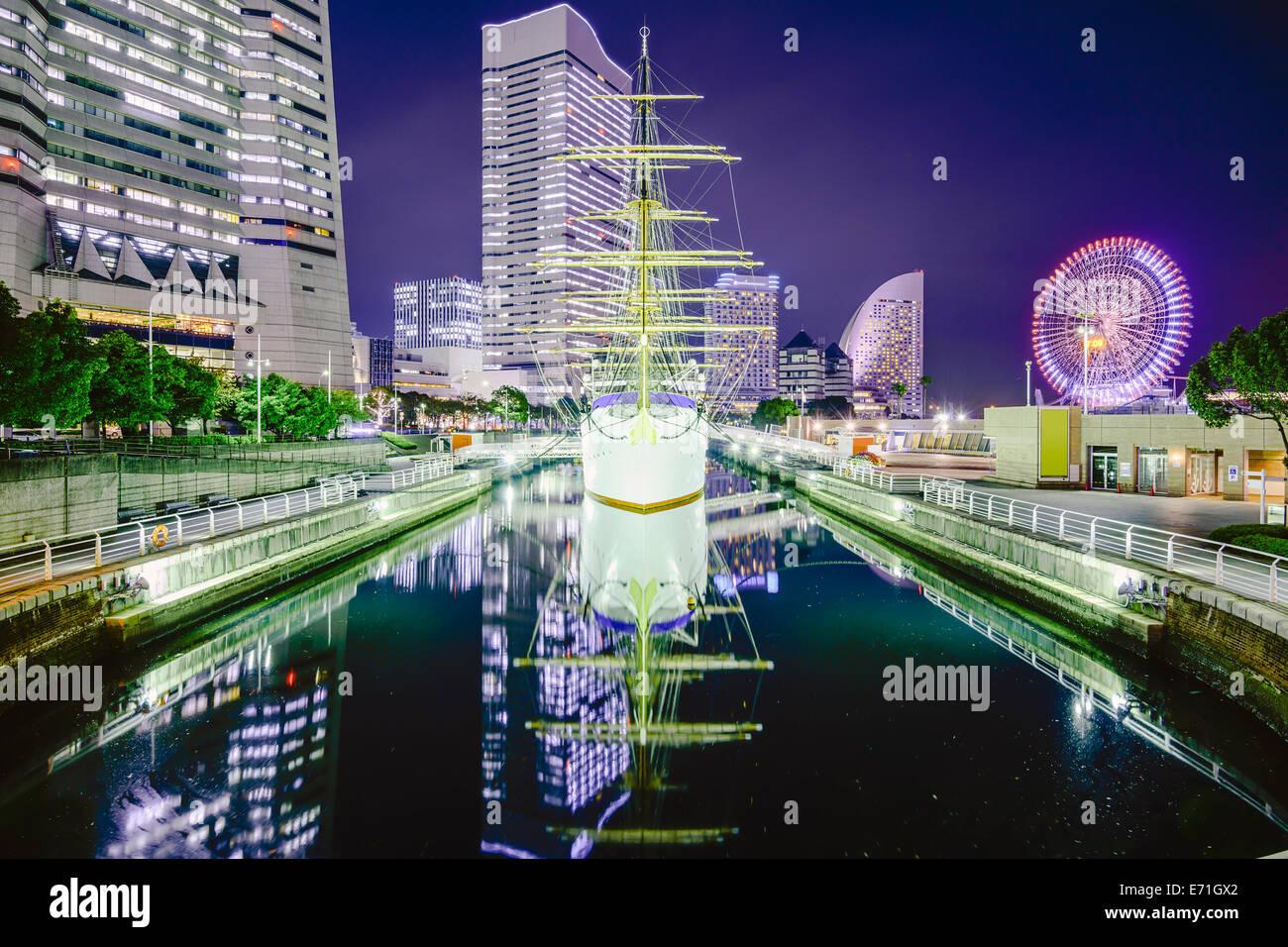 Yokohama, Giappone skyline della città a Minato-mirai. Immagini Stock