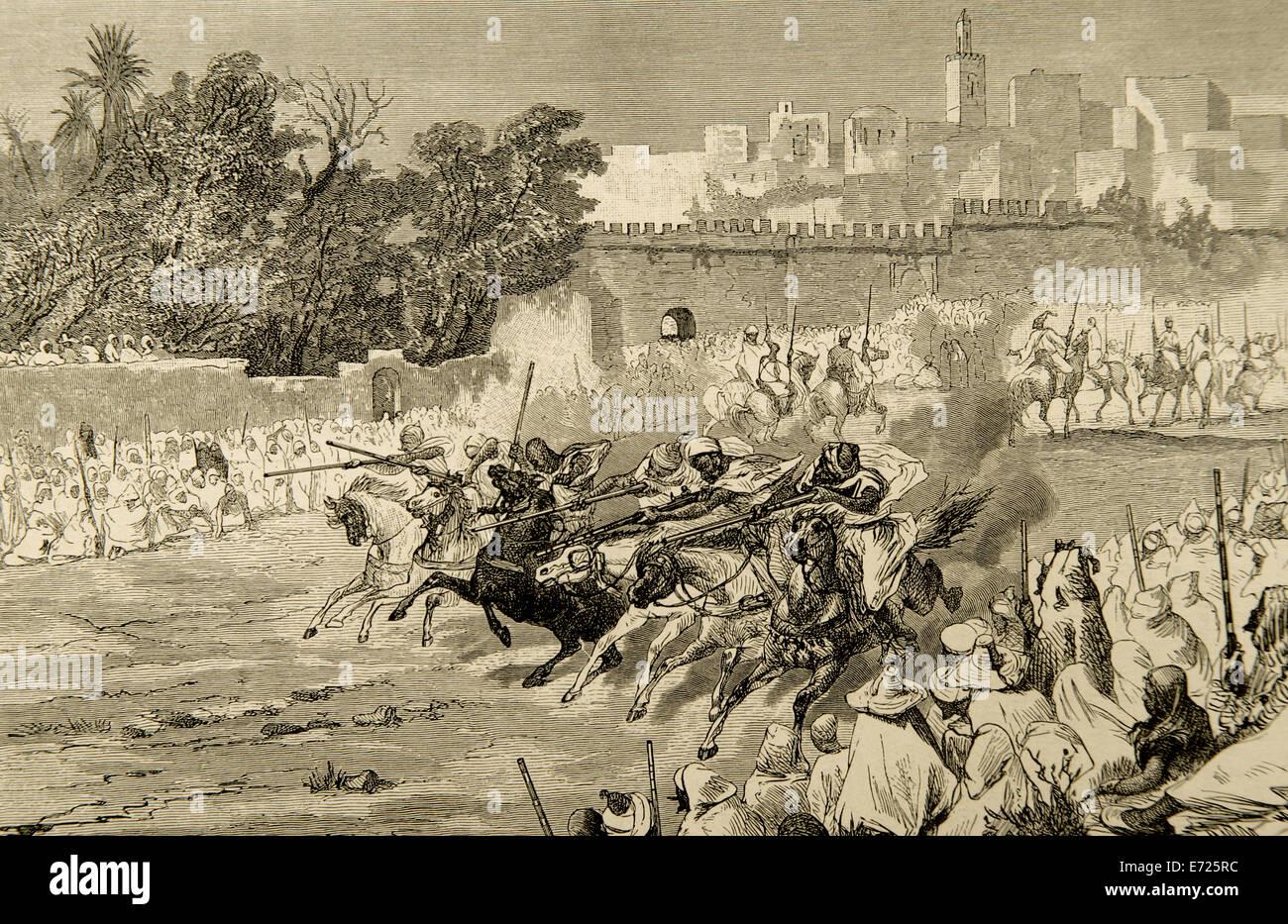La storia. L'Islam. Le celebrazioni per commemorare la nascita di Maometto. Il Marocco. Incisione di Biseo. Immagini Stock