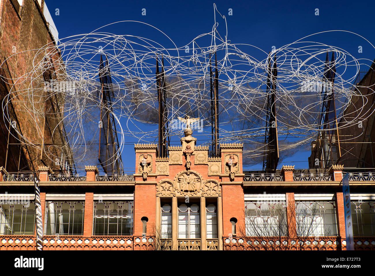 In Spagna, in Catalogna, Barcellona, facciata di Fundacio Antoni Tapies. Immagini Stock