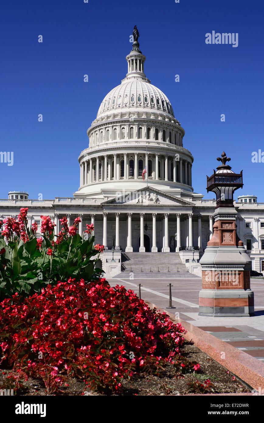 Stati Uniti d'America, Washington DC, Capitol Building testa sulla vista della sezione centrale con la sua cupola Immagini Stock