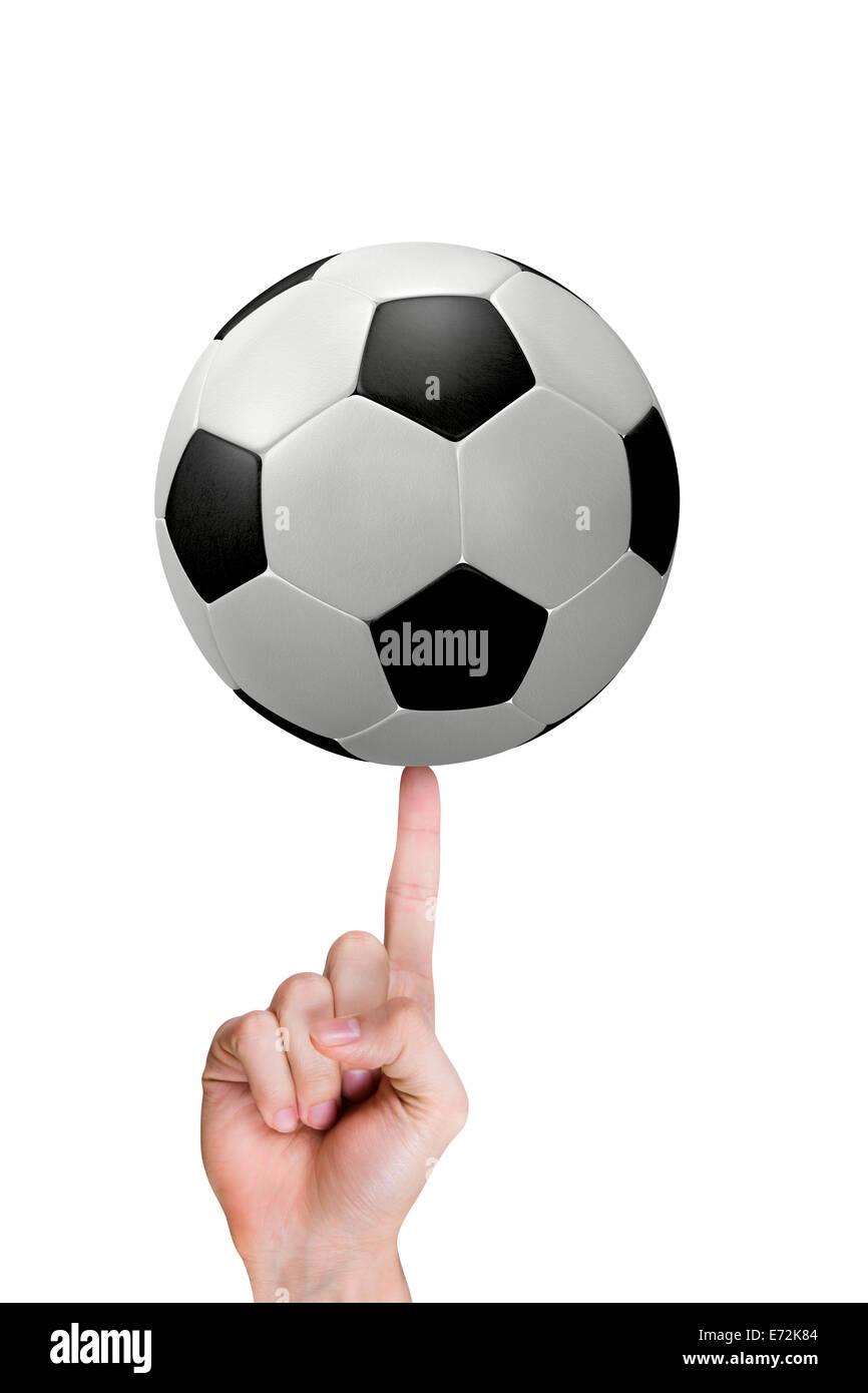 Il dito indice della mano con il calcio. Immagini Stock