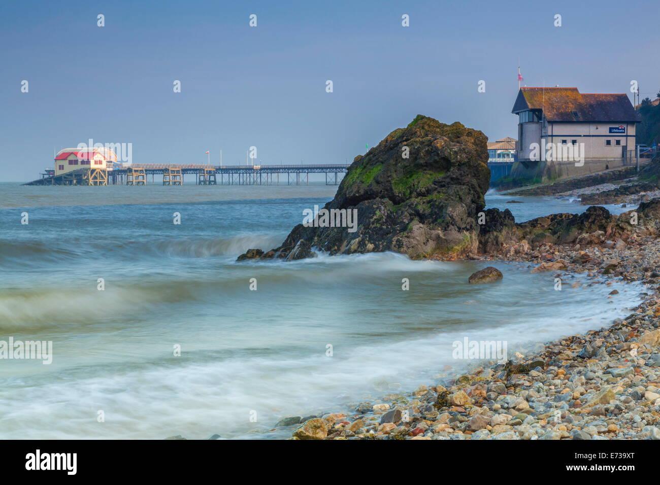 Mumbles Pier, Gower, Swansea, Wales, Regno Unito, Europa Immagini Stock