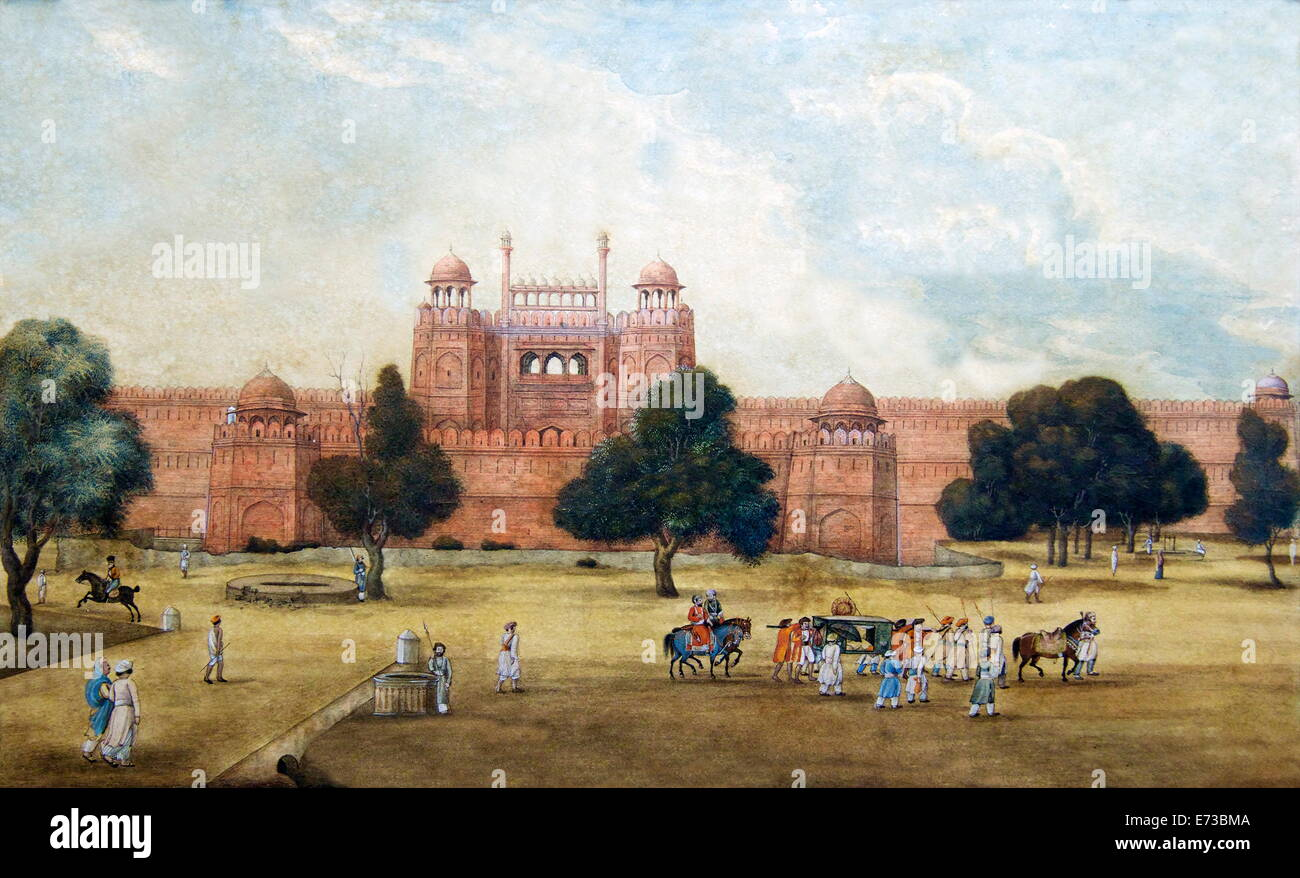 La pittura di Red Fort, secolo XIX, Museo Archeologico, Red Fort di Delhi, India, Asia Immagini Stock