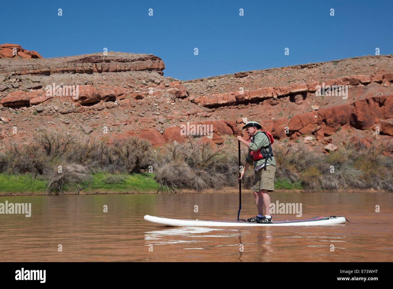 Il Parco Nazionale di Canyonlands, Utah - John West, 67, pagaie un gonfiabile stand up paddleboard durante un viaggio Immagini Stock