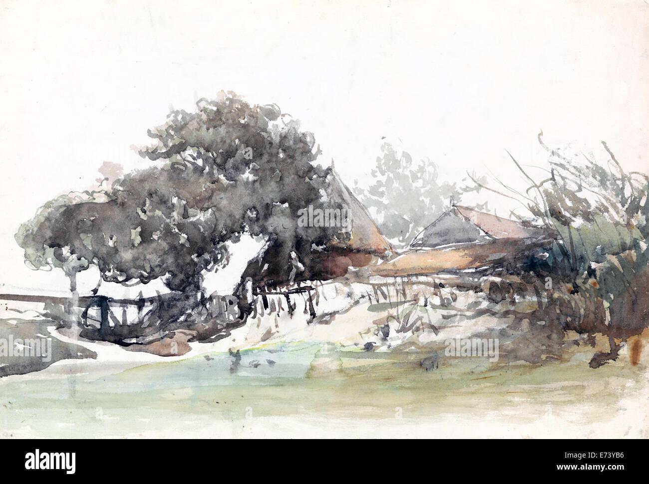 Aziende agricole a Waalsdorp village - acquerello - da Johannes Bosboom, 1827 - 1891 Immagini Stock