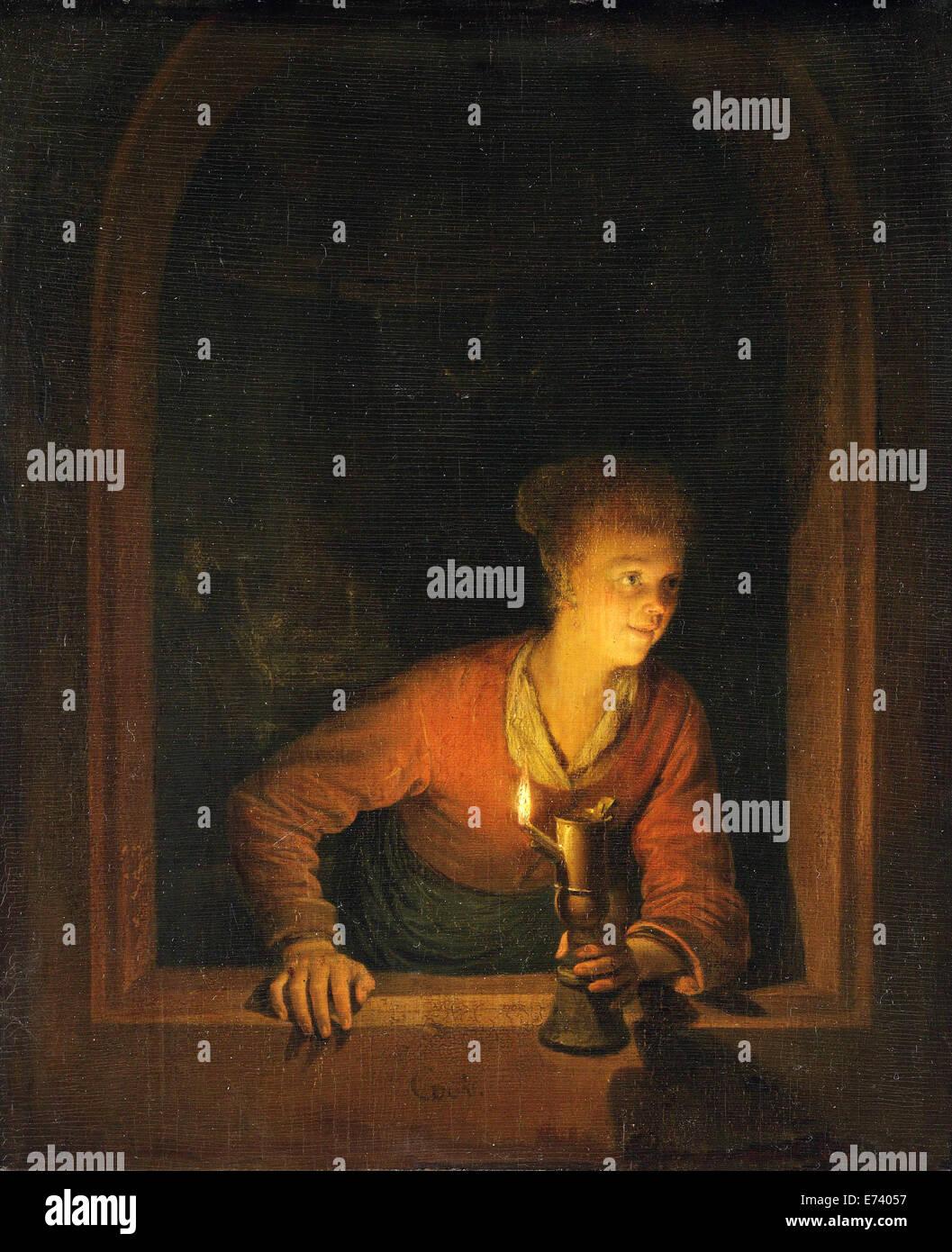 Ragazza con lampada a olio in corrispondenza di una finestra - da Gerard Dou, 1645 - 1675 Immagini Stock