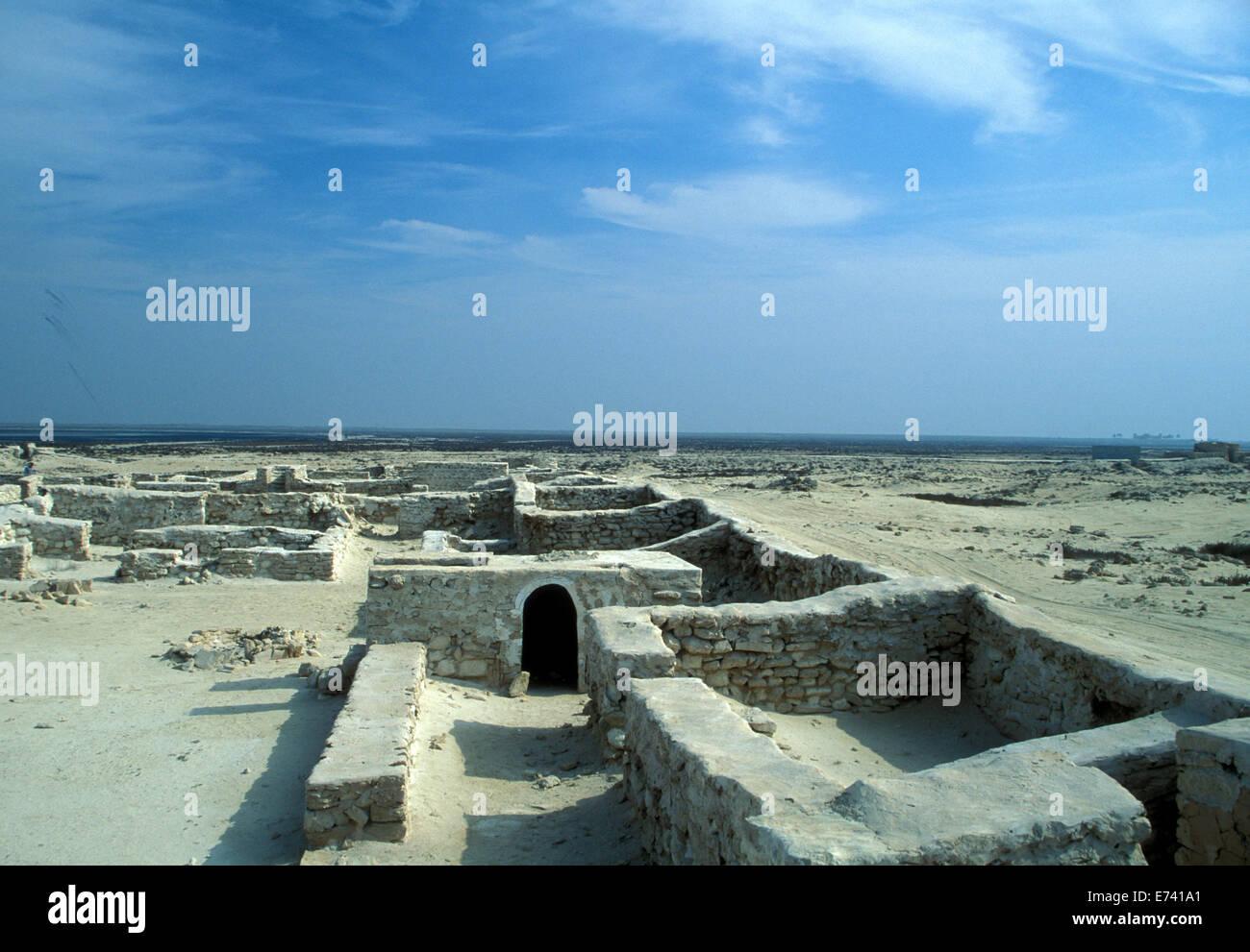 Le rovine del primo insediamento a al-Zubarah, in Qatar Immagini Stock