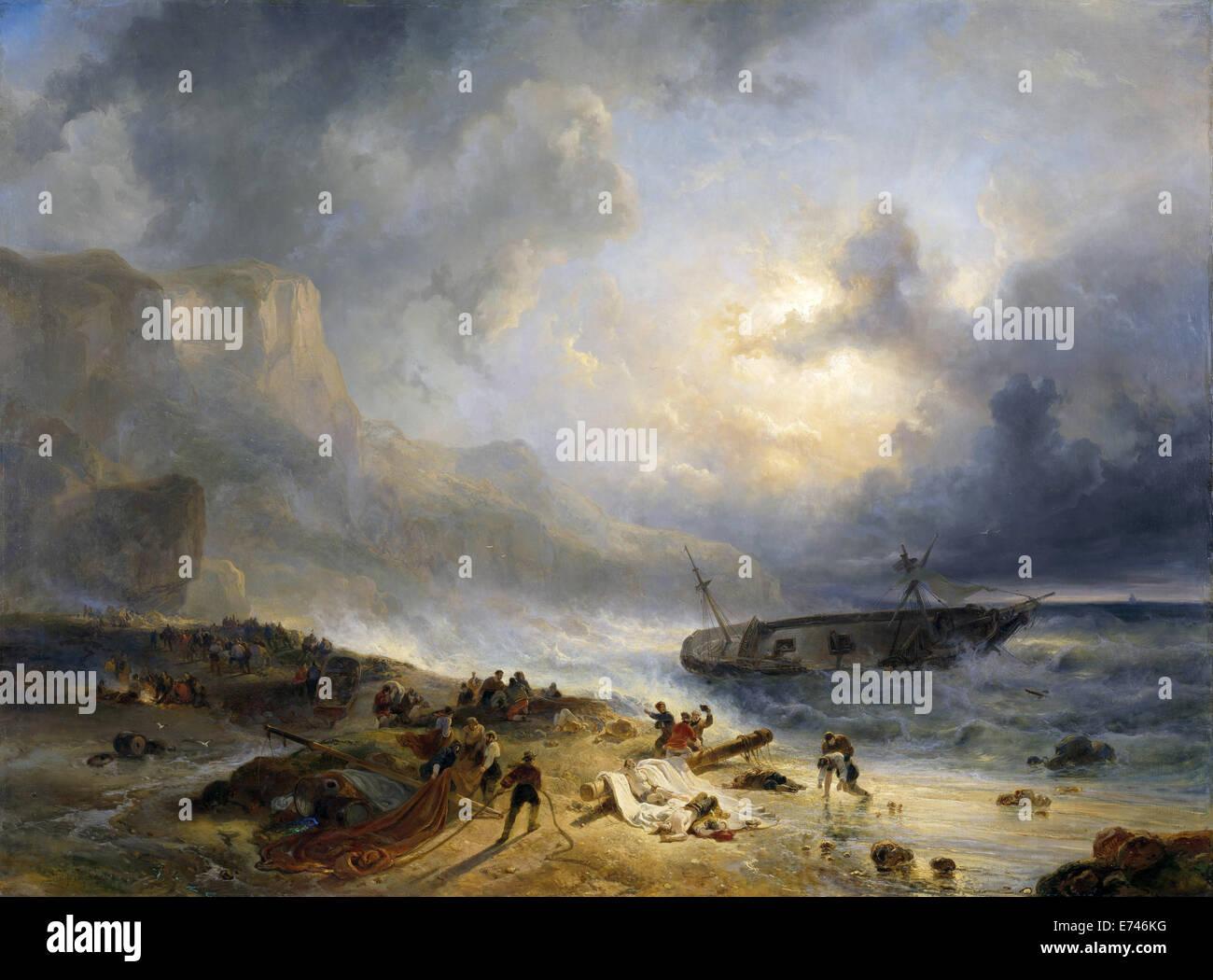 Naufragio fuori da una costa rocciosa - da Wijnand Nuijen, 1837 Immagini Stock