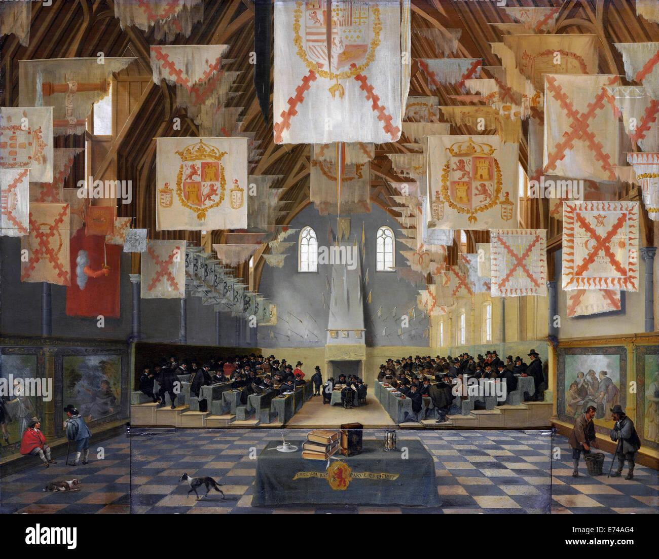 La sala del cavaliere del Binnenhof durante la Grande assemblea del 1651, Bartholomeus van Bassen, Anthonie Palamedesz,1651 Immagini Stock