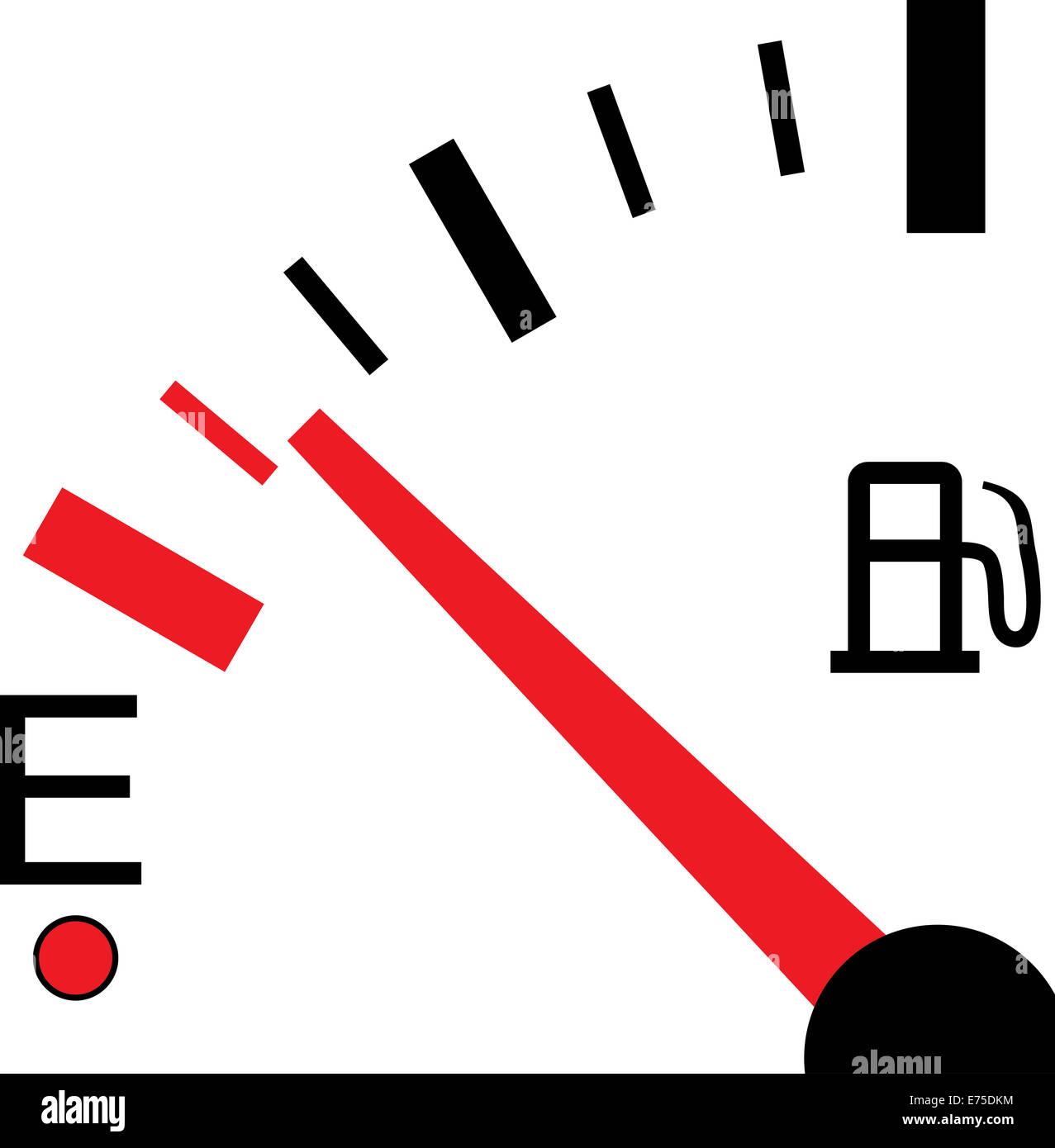 Una illustrazione di un indicatore del livello del combustibile su sfondo bianco Immagini Stock