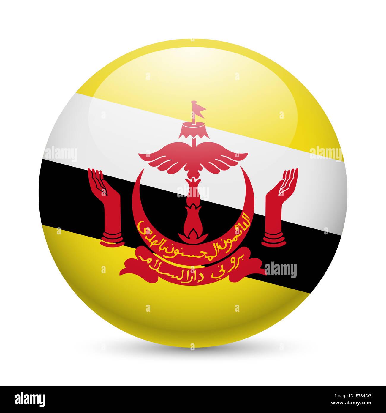Bandiera del Brunei come round icona lucida. Pulsante con indicatore di Bruneian Immagini Stock